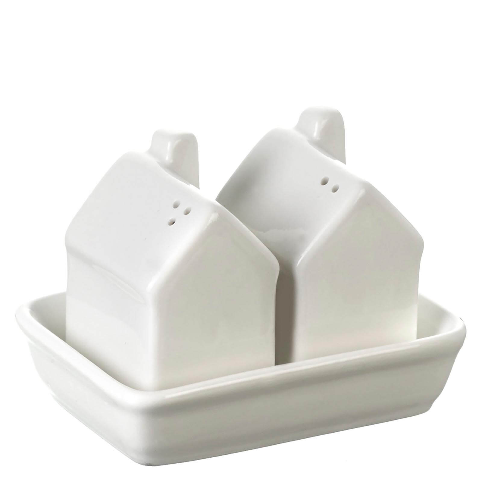 Parlane Ceramic House Salt & Pepper Set - Cream (6 x 4.5cm)