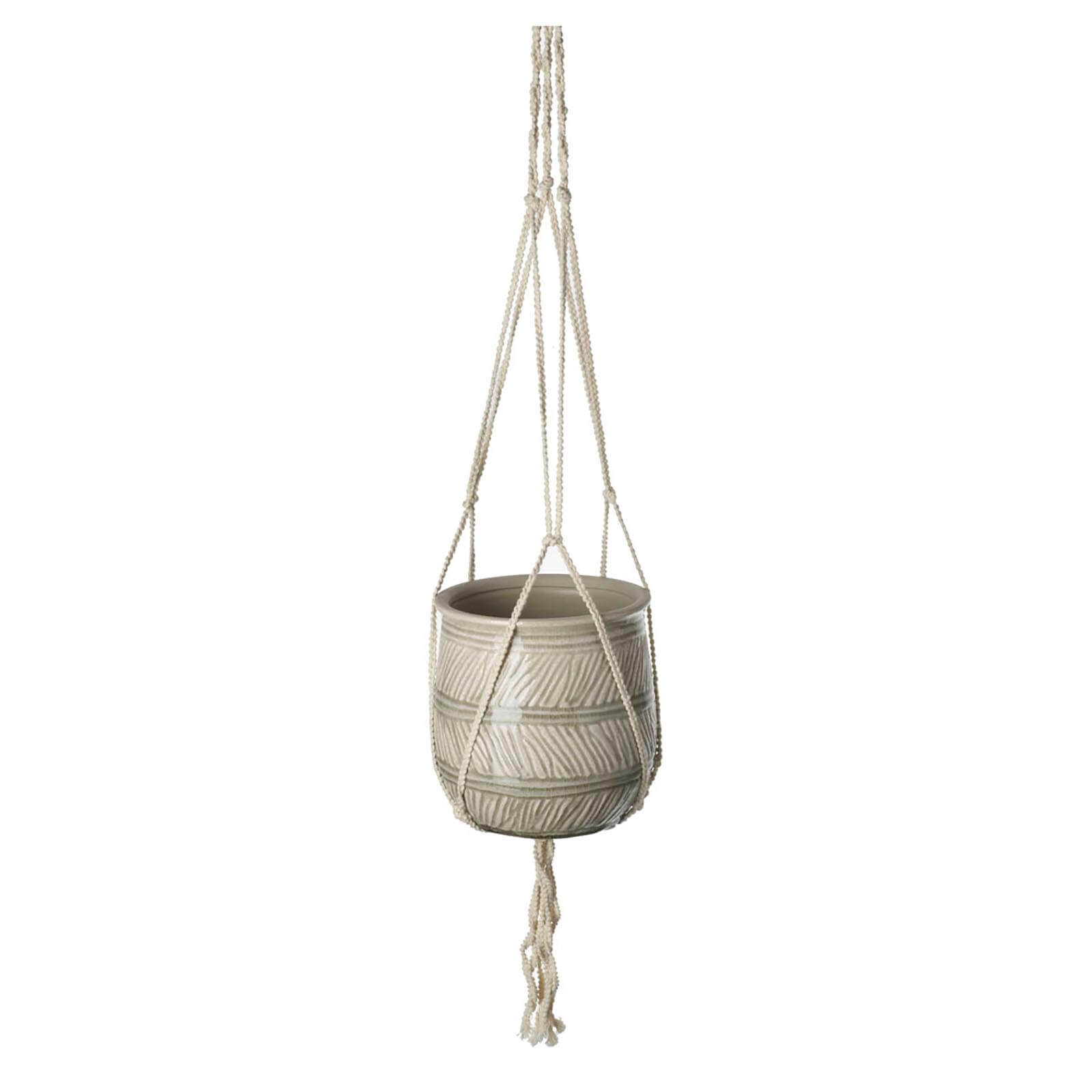 Parlane Terra Ceramic Pot with Hanger - Grey (16 x 15.5cm)