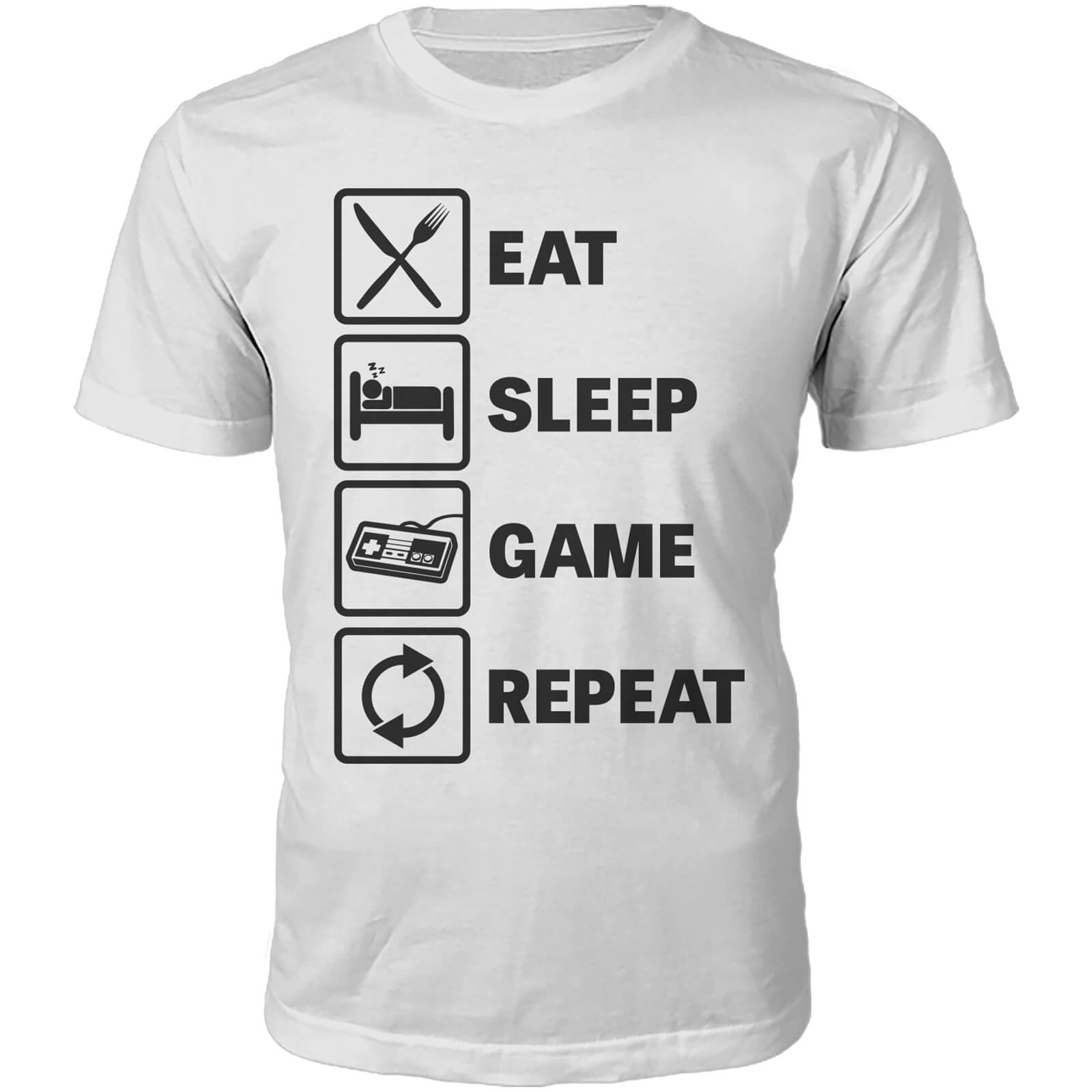 T-Shirt Unisexe Witness Eat Sleep Game Repeat -Blanc