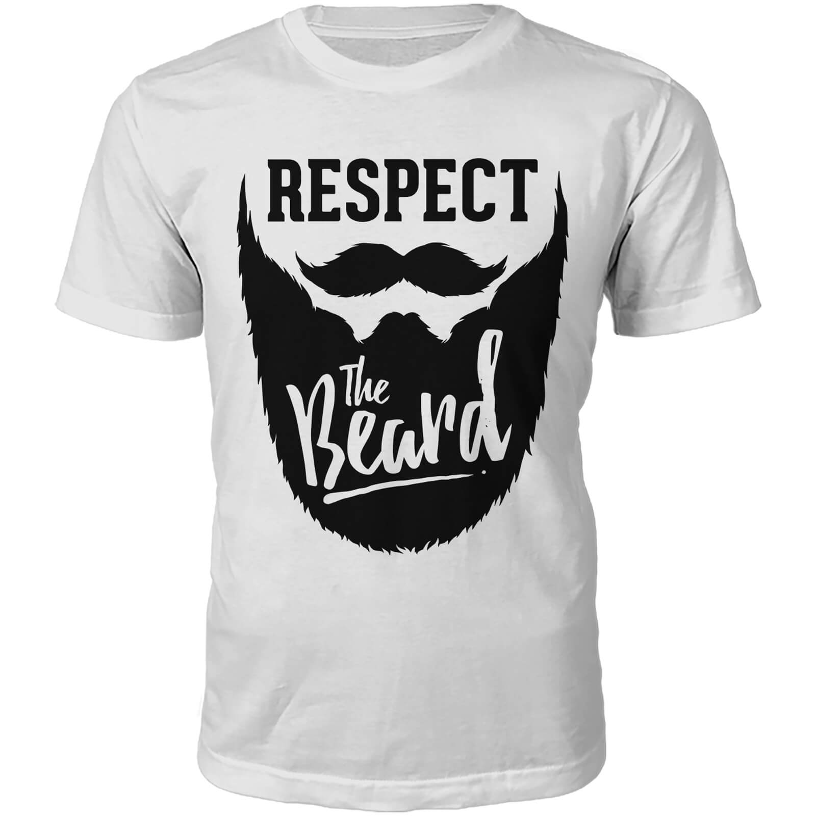 Respect The Beard Slogan T-Shirt - White