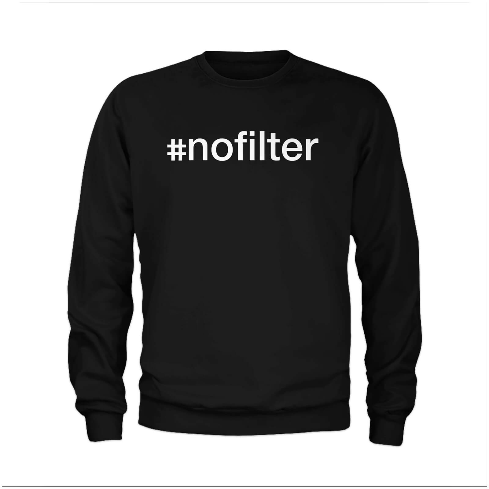 #Nofilter Slogan Sweatshirt - Black