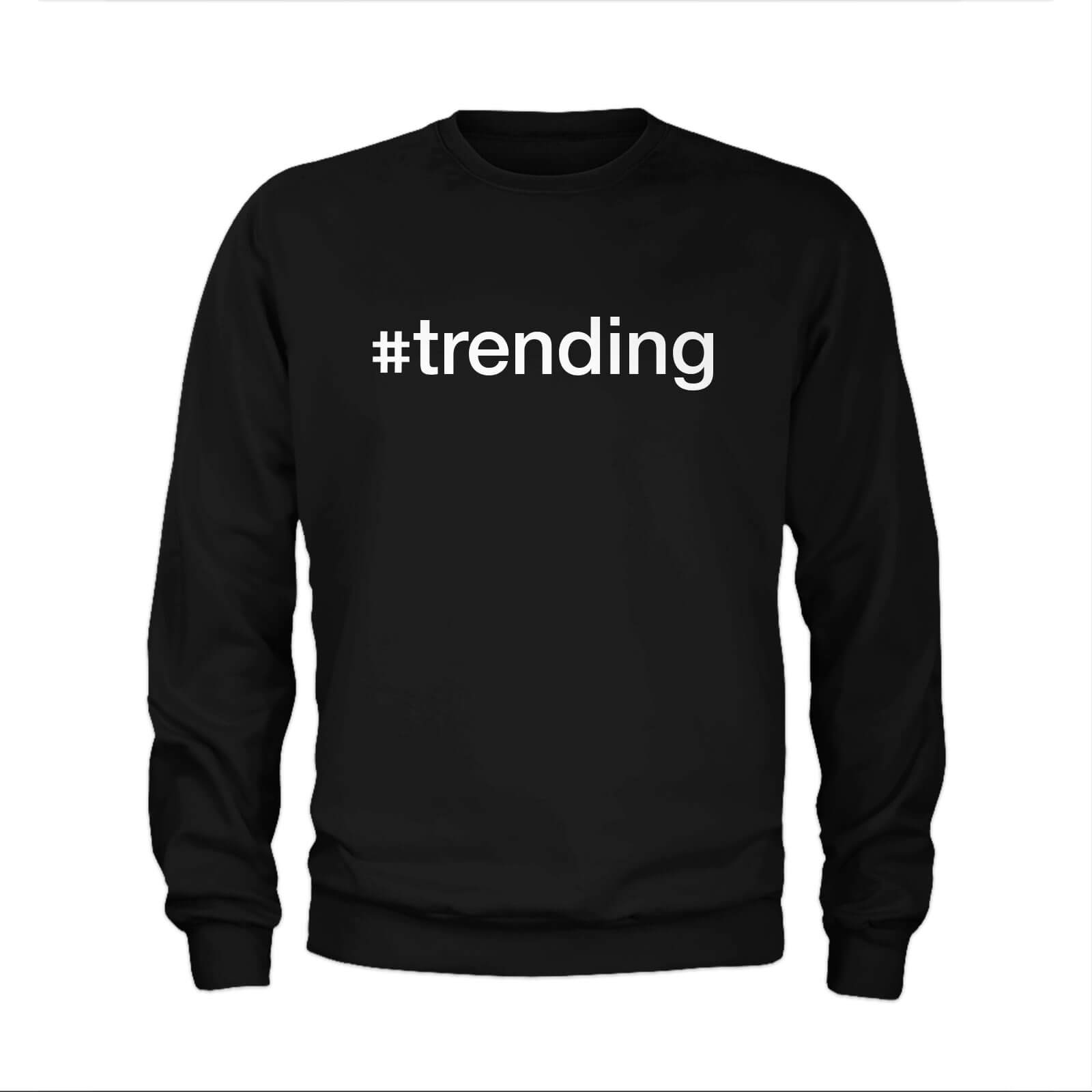 #Trending Slogan Sweatshirt - Black