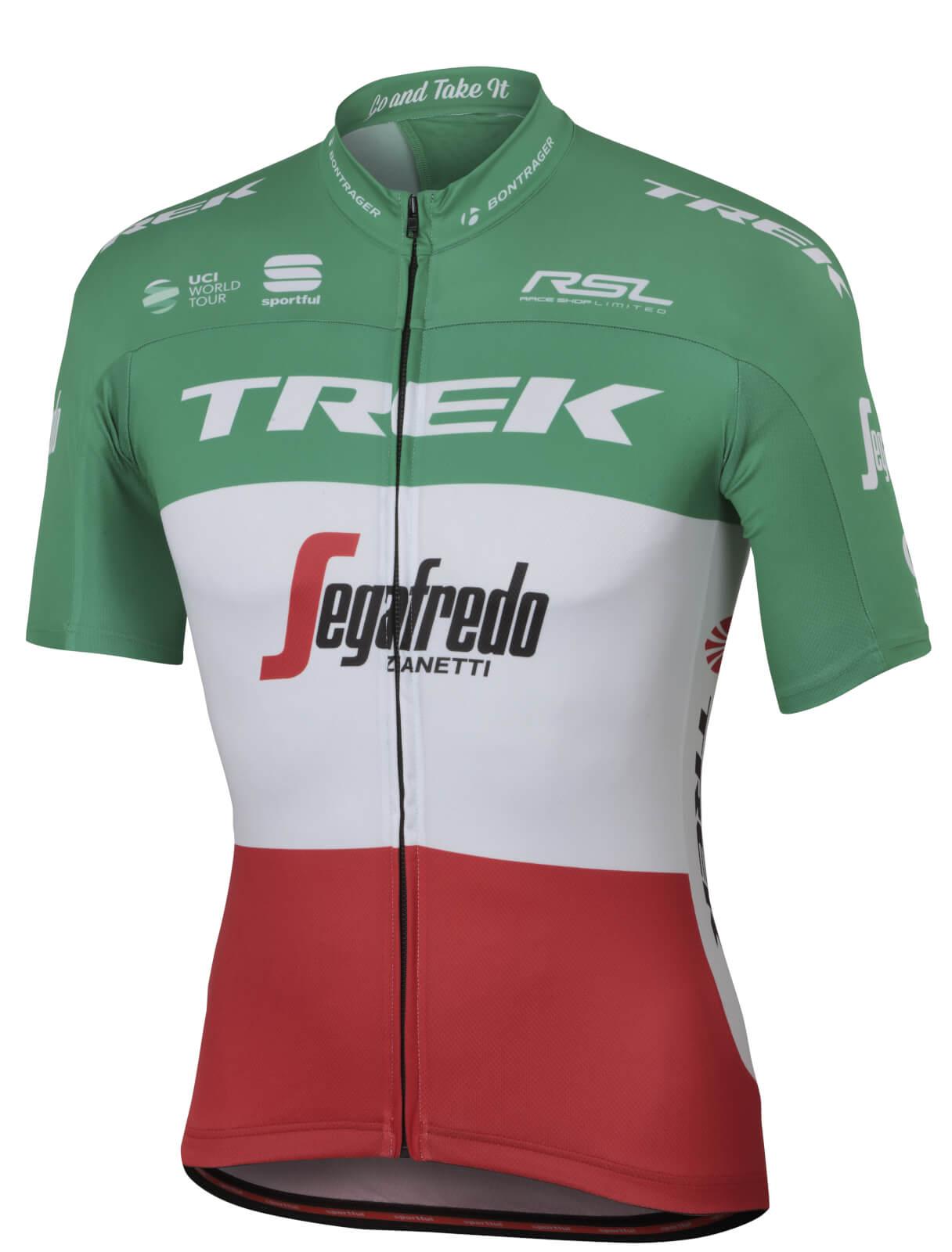 Sportful Trek-Segafredo BodyFit Pro Team Italian Champion Short Sleeve  Jersey - White Green Red 00838a21b