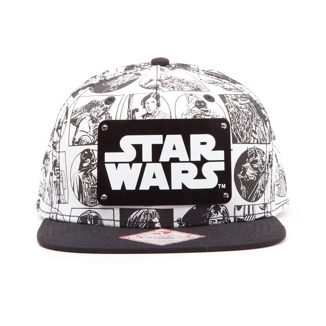Star Wars Comic Style Snapback Cap with Metal Plate Logo - White/Black