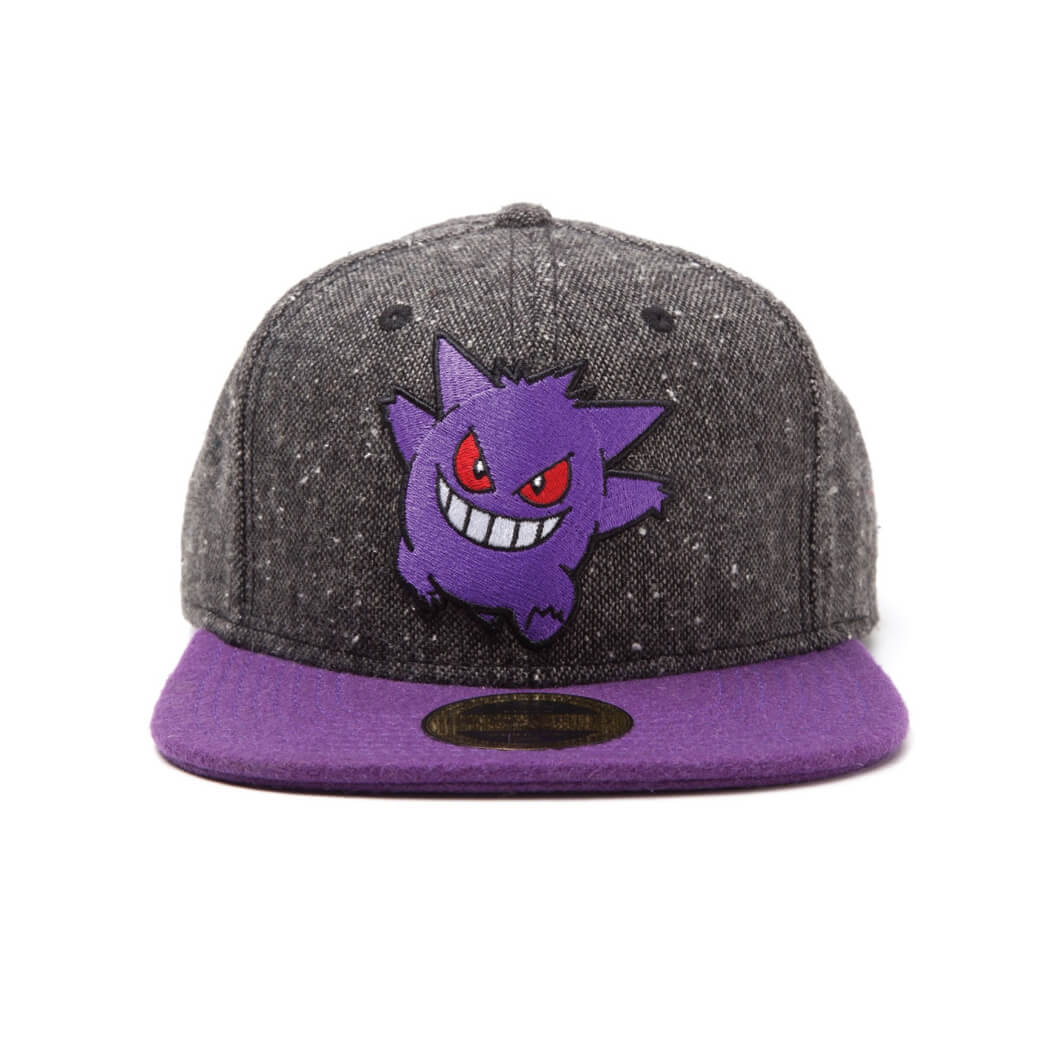 Pokémon Gengar Snapback Cap with Purple Bill - Grey