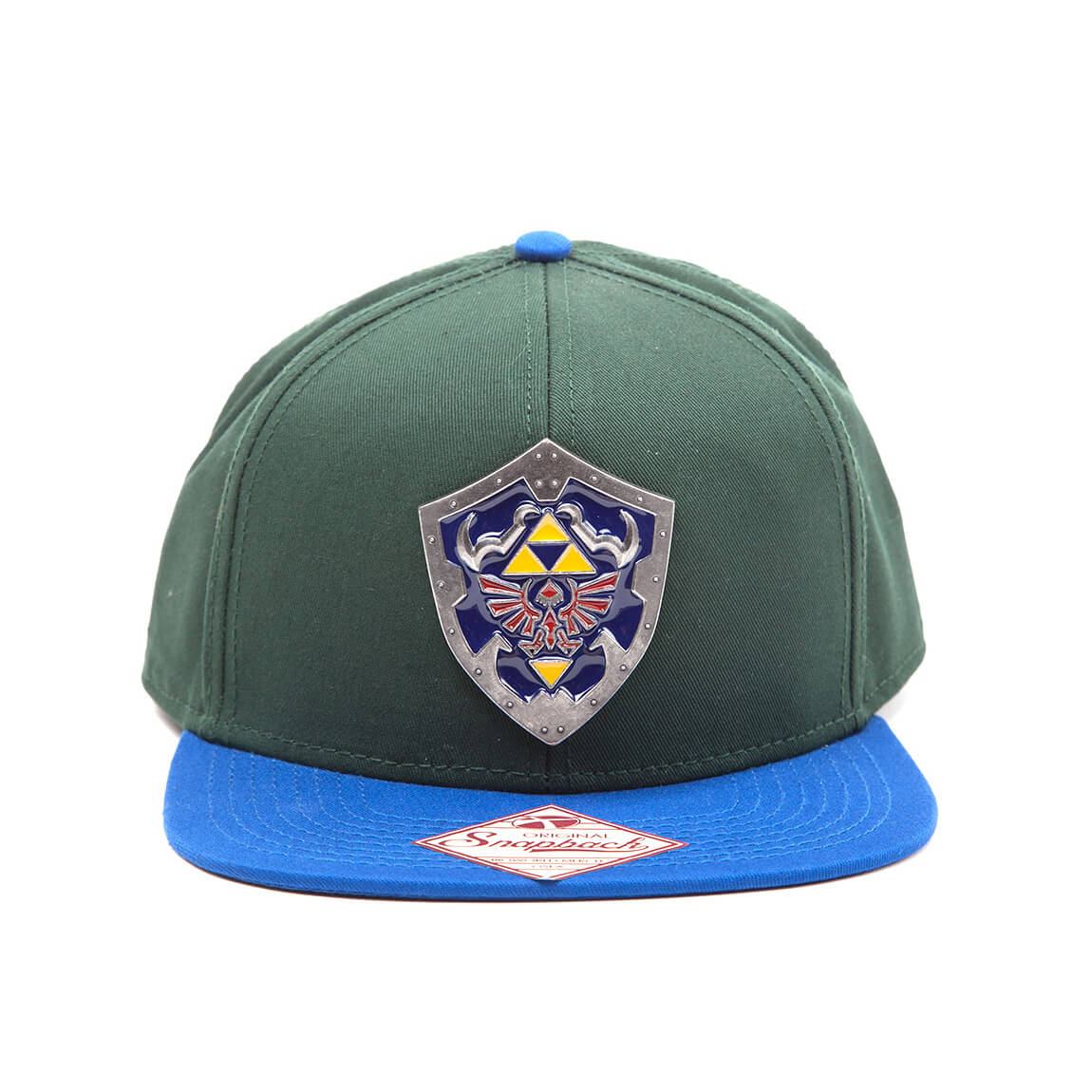 Nintendo The Legend of Zelda Metal Hylian Shield Snapback Cap - Green/Blue