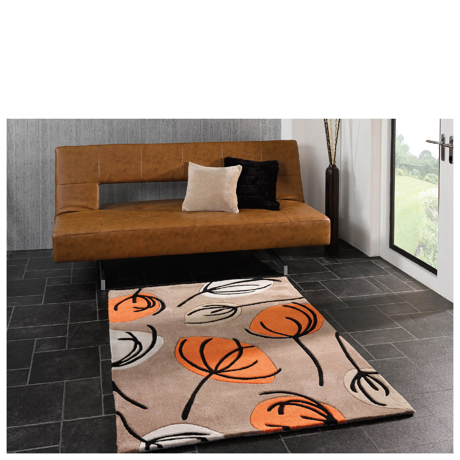 Flair Infinite Inspire Rug - Fifties Floral Orange