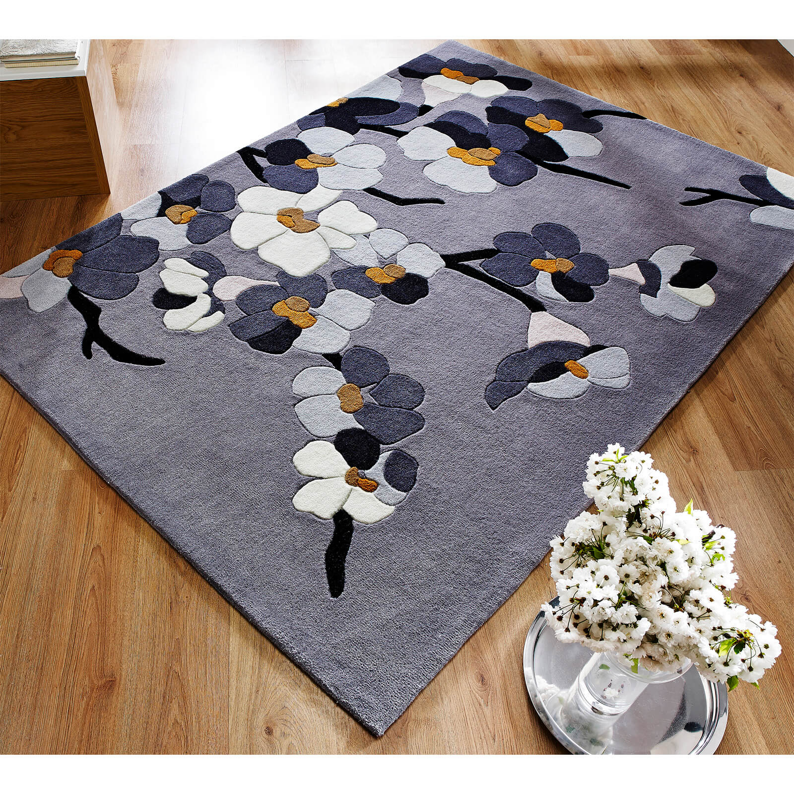 Flair Infinite Blossom Rug - Grey/Ochre
