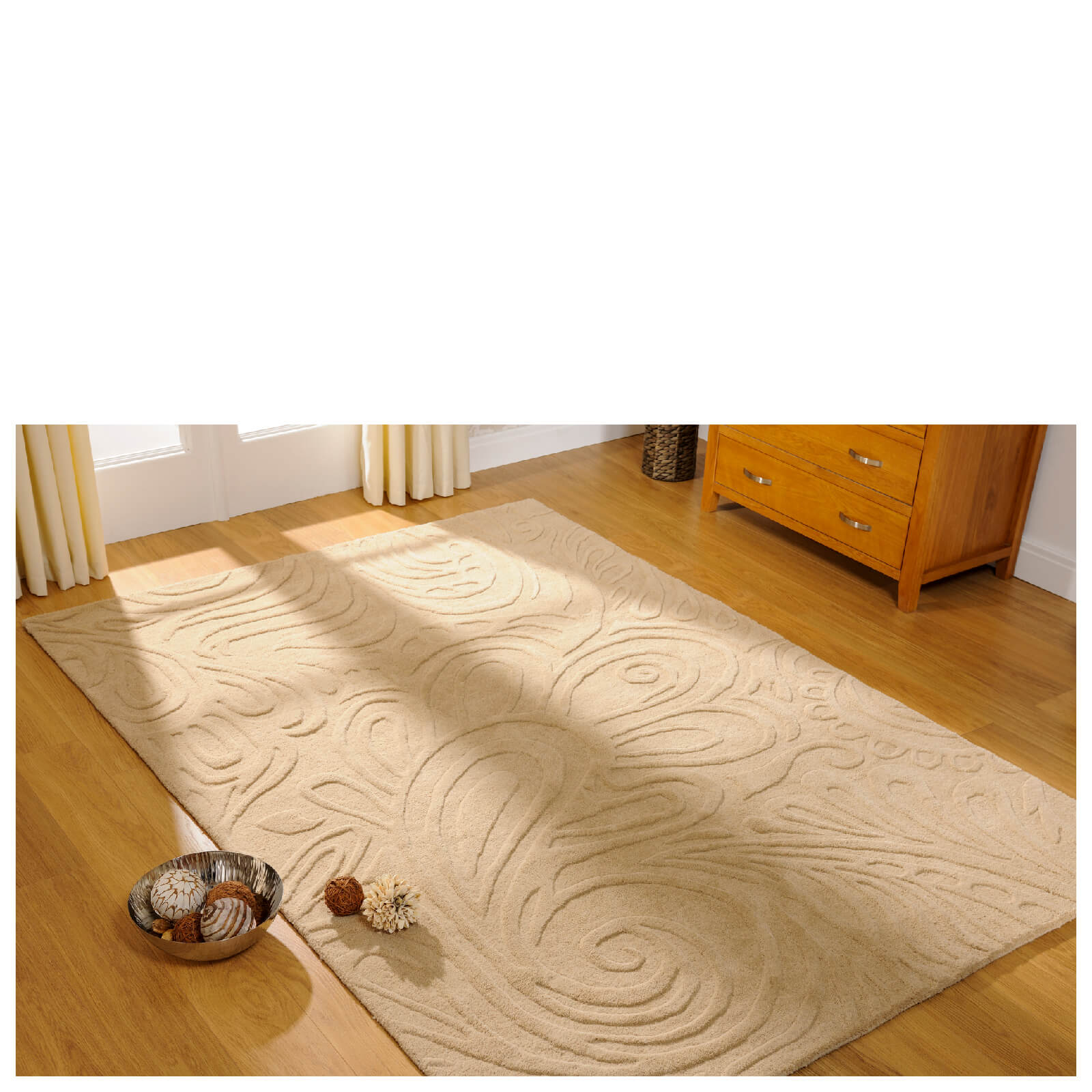 Flair Relief Paisley Rug - Cream