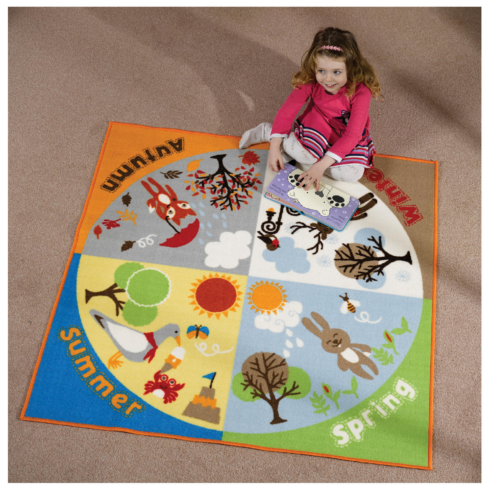 Flair Matrix Kiddy Rug - Seasons Multi (133X133)
