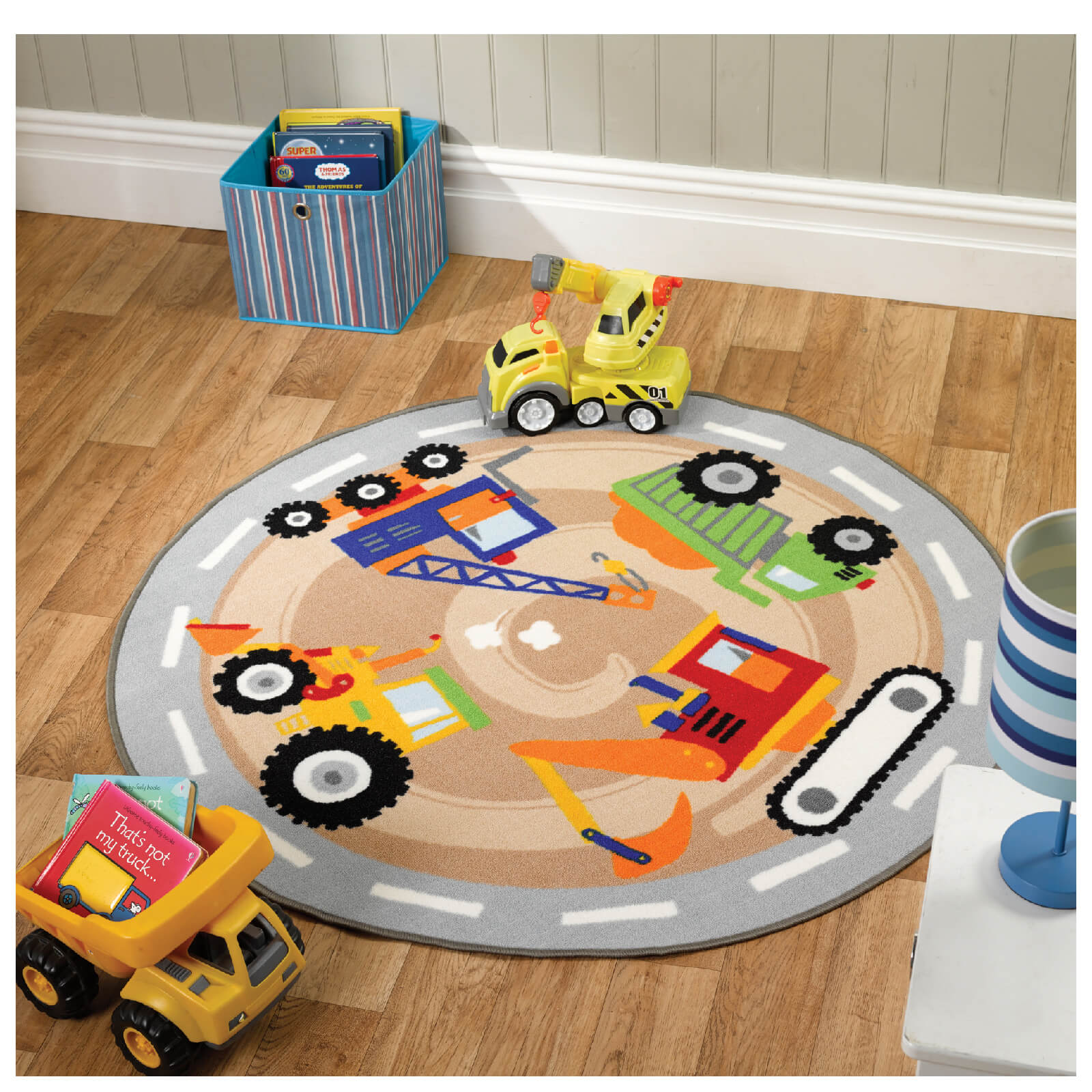 Flair Matrix Kiddy Rug - Diggers Multi (133X133)