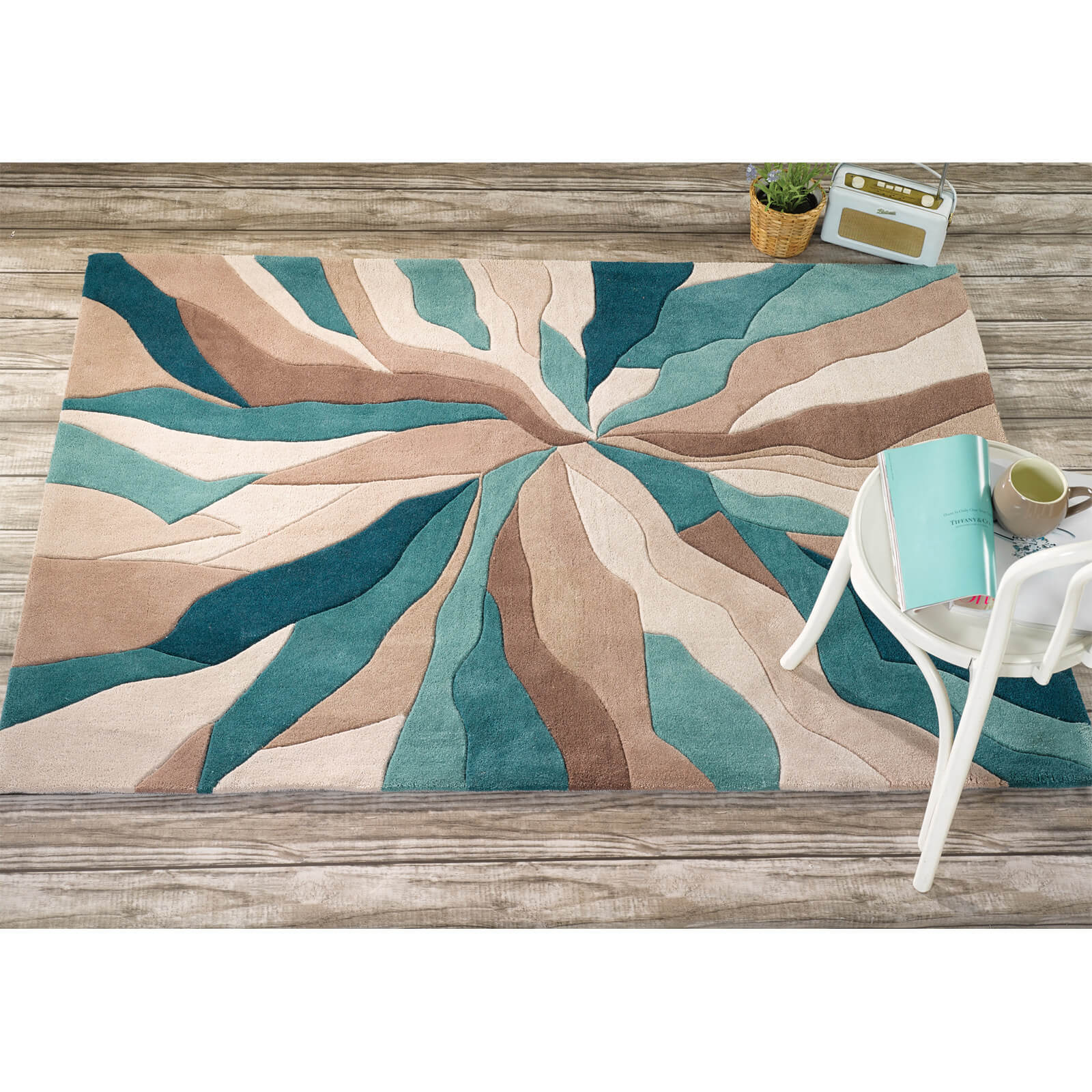 Flair Infinite Splinter Rug - Teal (200X290)