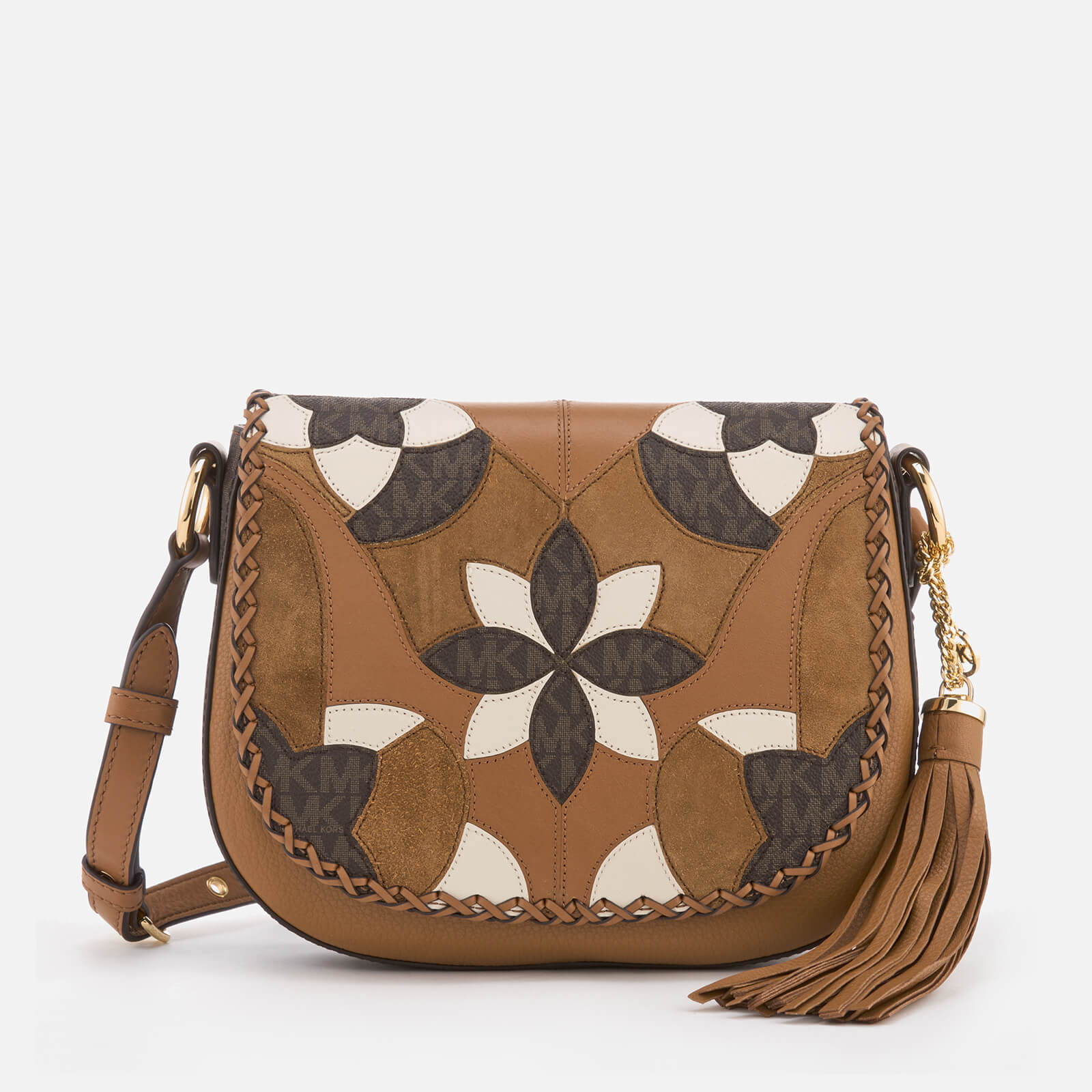 d2b6aaef0aa5 MICHAEL MICHAEL KORS Women s Brooklyn Patchwork Medium Saddle Bag - Acorn -  Free UK Delivery over £50