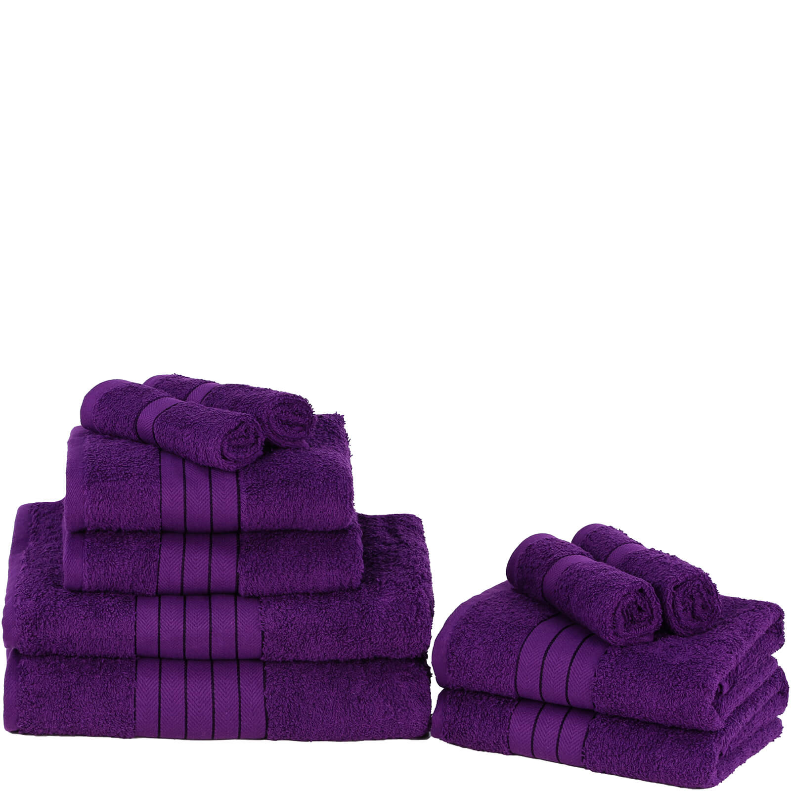 Highams 100% Egyptian Cotton 10 Piece Towel Bale (500 gsm) - Grape