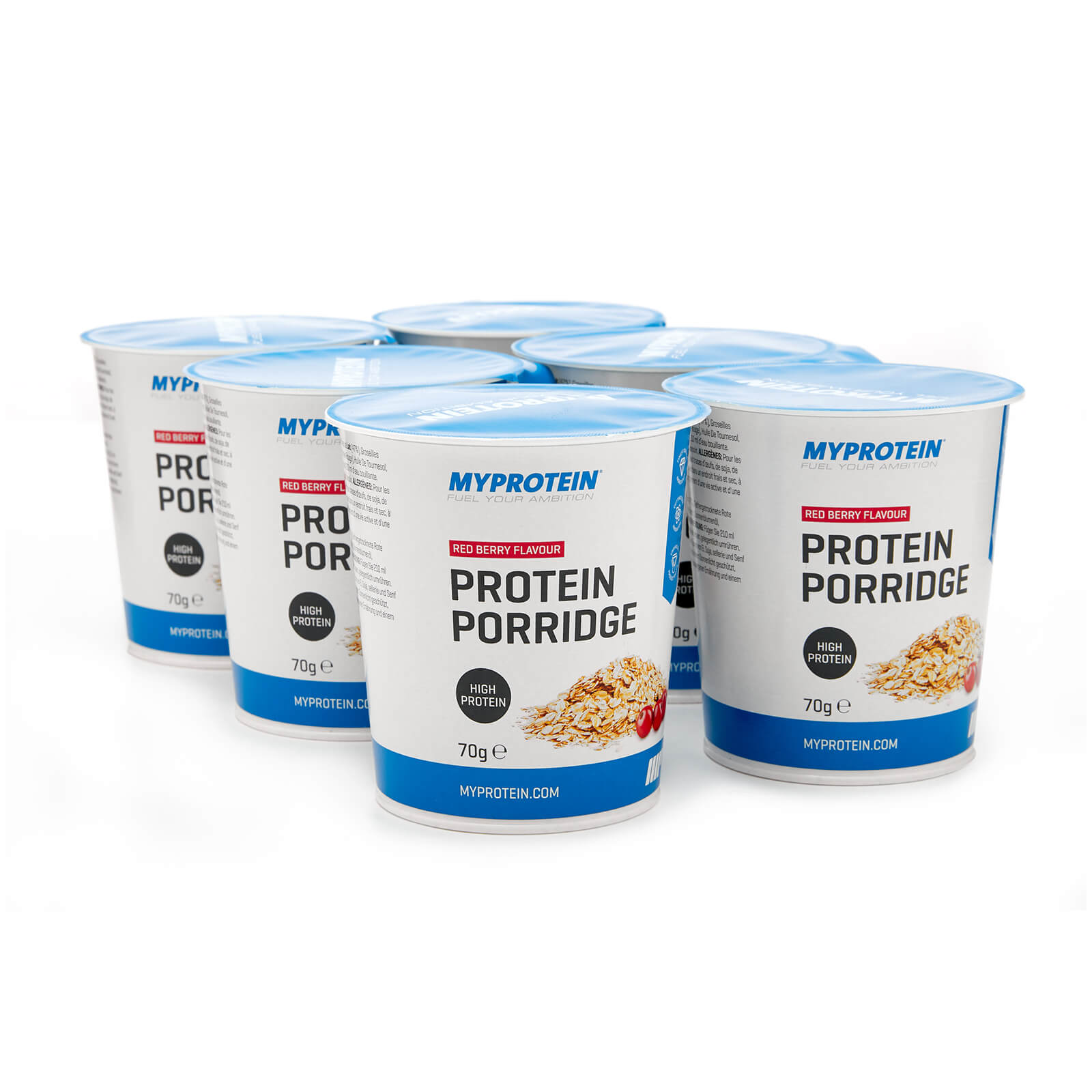 Protein Porridge Pots - Red Berry, 6 x 70g