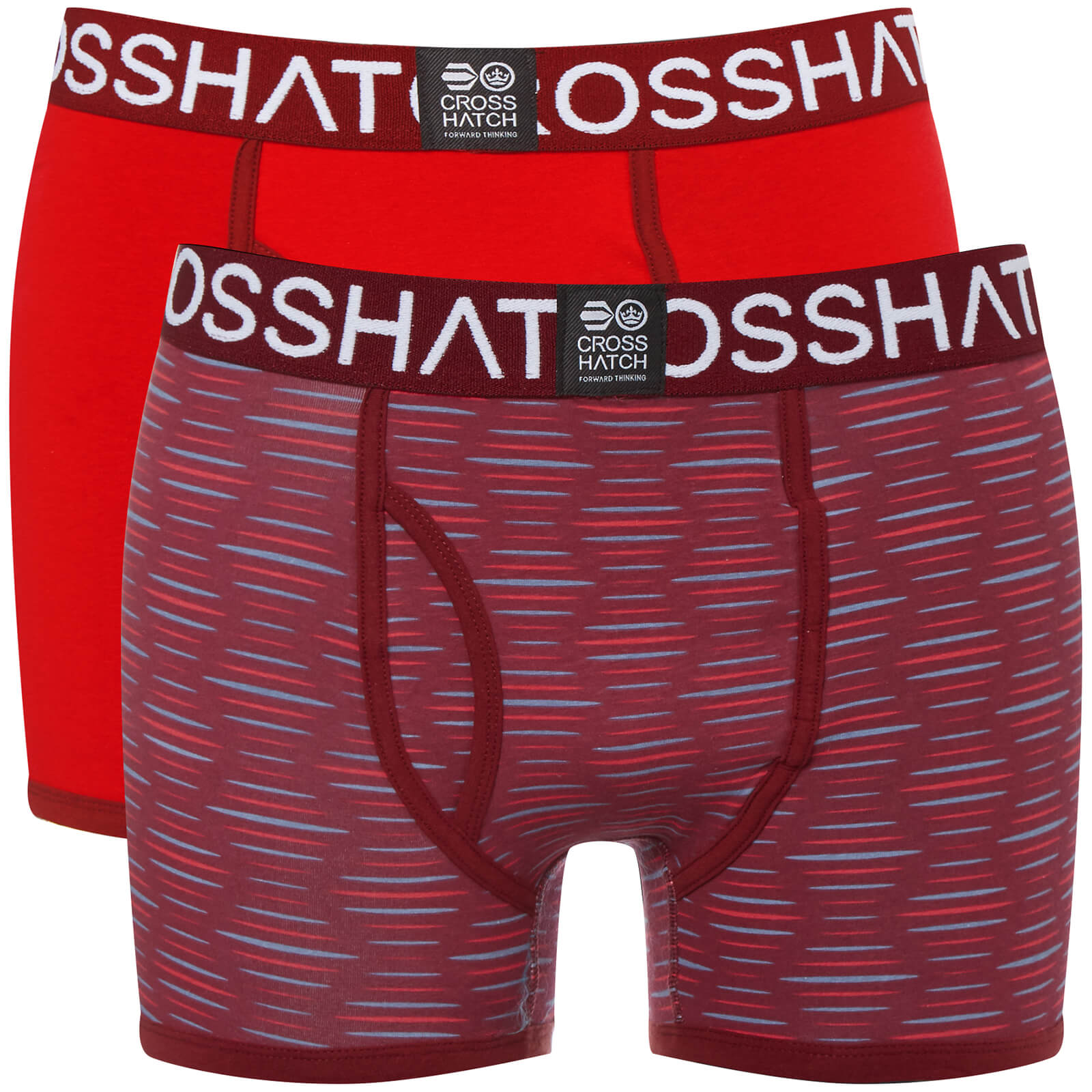 Lot de 2 Boxers Syntho Crosshatch - Rouge Cerise