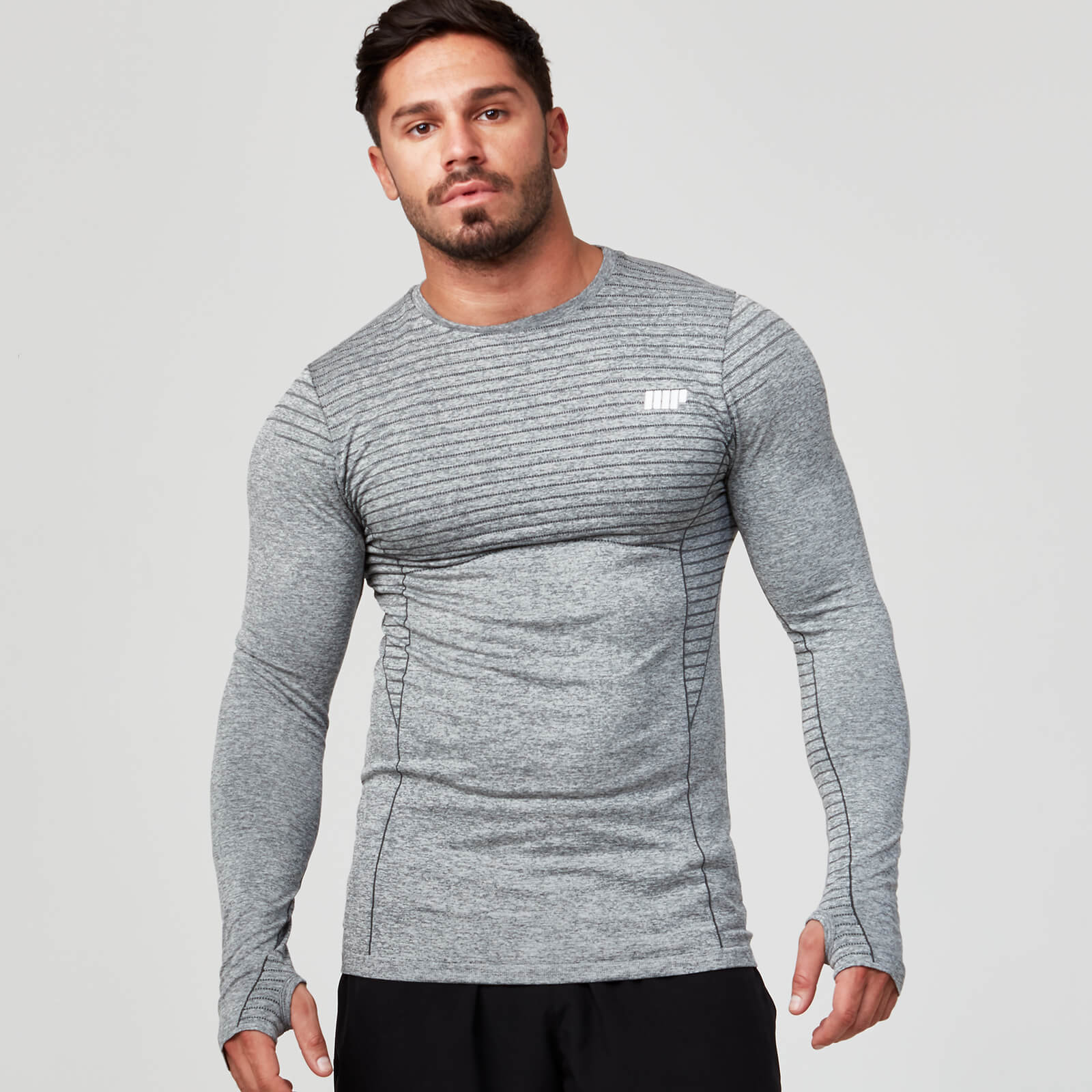 Seamless Long Sleeve T-Shirt - Grey Marl - XL
