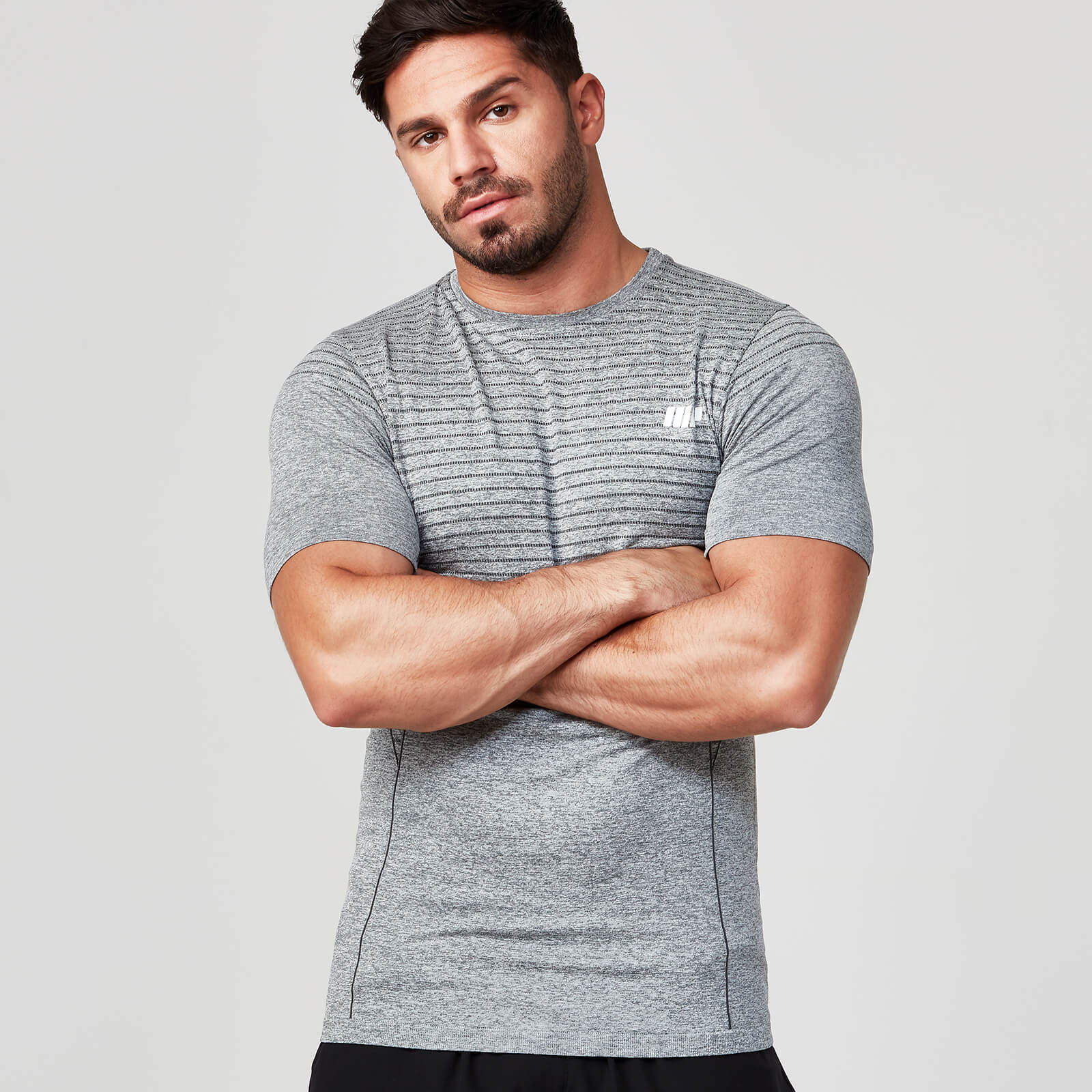 Seamless Short Sleeve T-Shirt - Grey Marl - XXL