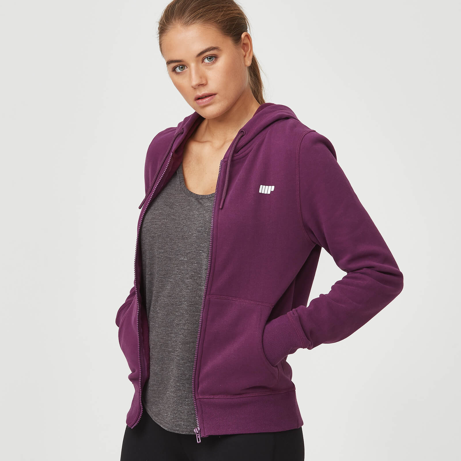 Myprotein Tru-Fit Zip Up Hoodie - Plum - XS