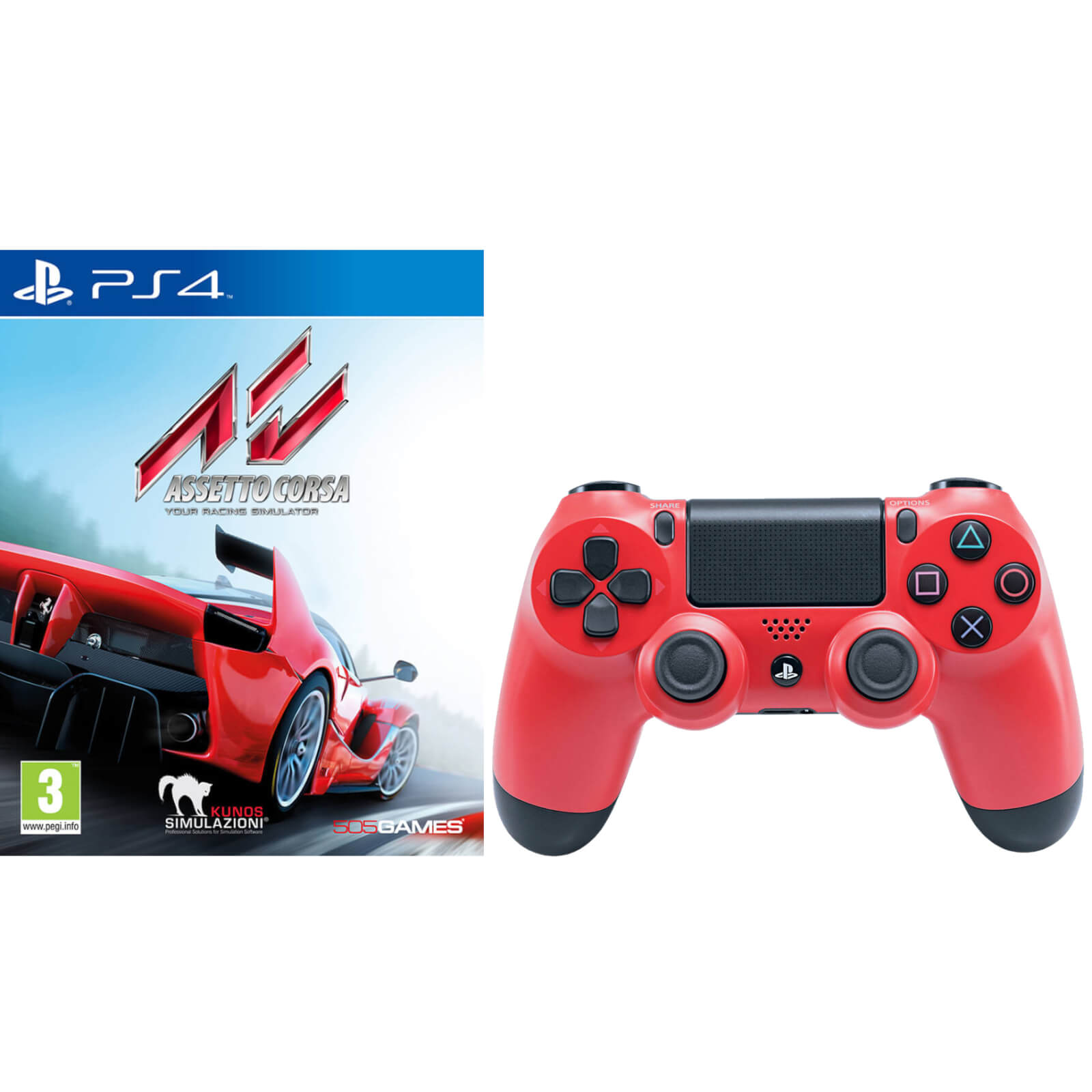 Manette DualShock 4 V2 Assetto Corsa avec Sony PlayStation 4 -Rouge