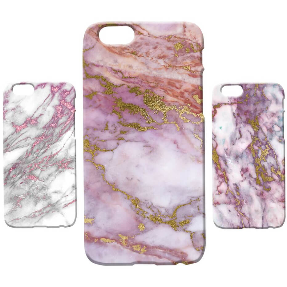 Coque iPhone & Android Texture Marbre - Rose