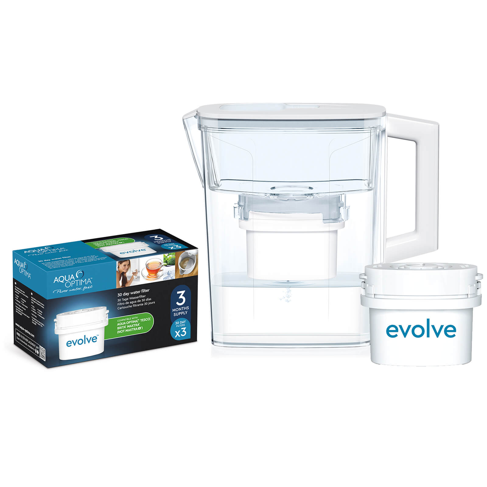 Aqua Optima 2.1L White Compact Water Filter Jug with 3 x 30 Day Evolve Filter Cartridges (3 Month Bundle)