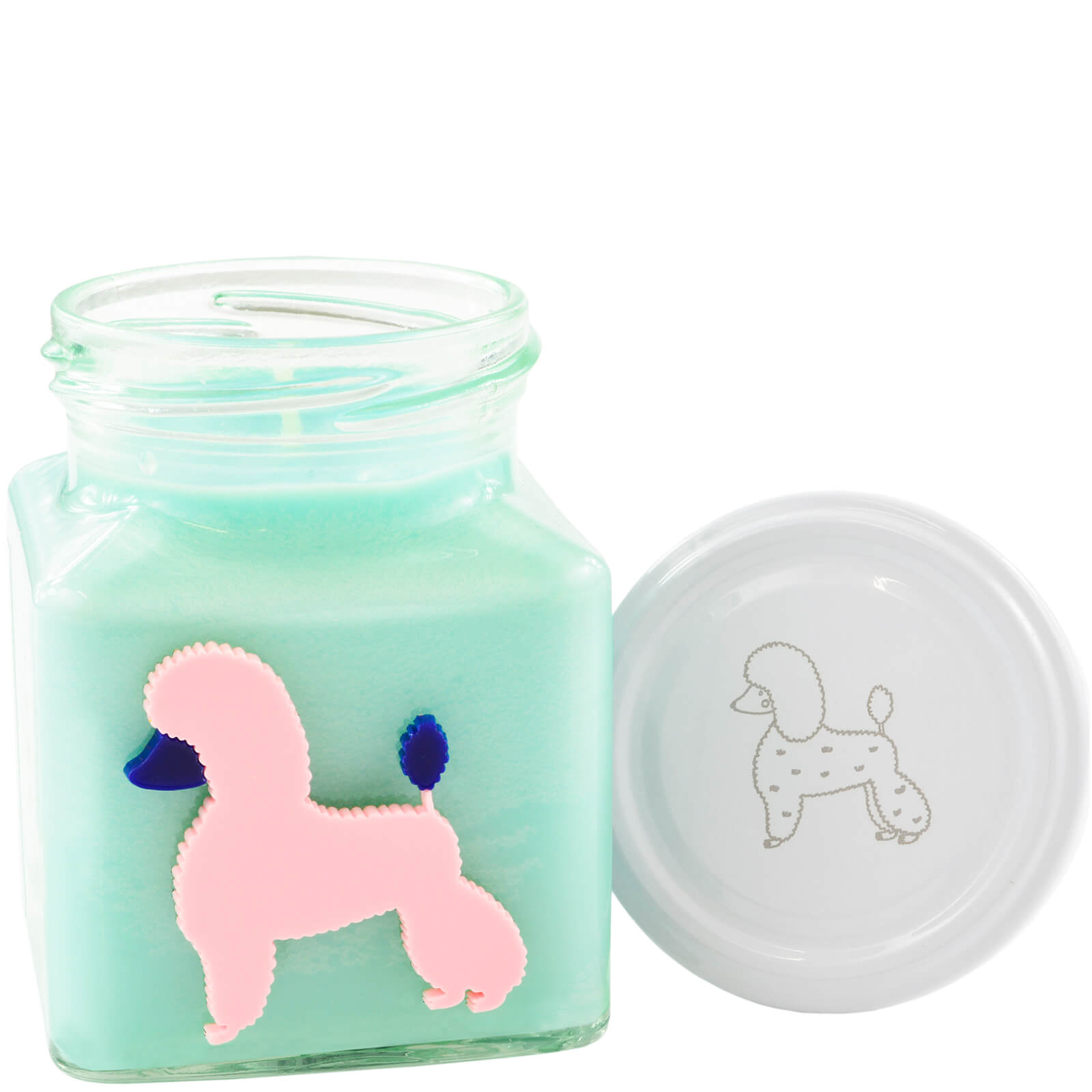Turquoise Peaches and Cream Poodle Party Candle
