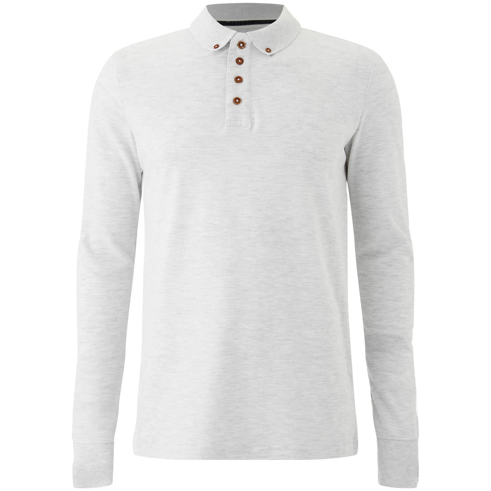 d35dc613555 Brave Soul Men's Lincoln Long Sleeve Polo Shirt - White Marl. Description