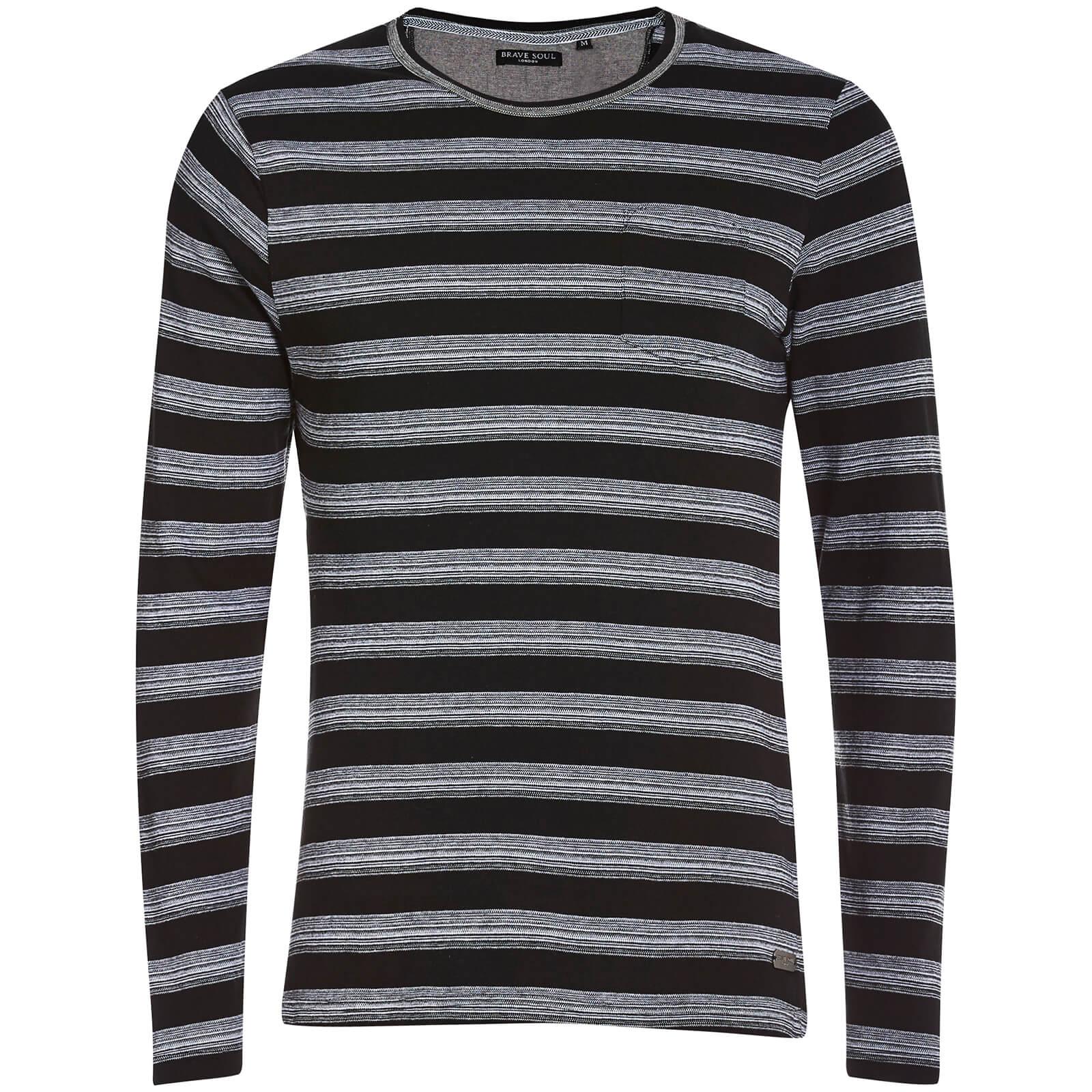 9a2cbaf84a13 Brave Soul Men's Slate Stripe Long Sleeve Top - Black Mens Clothing ...