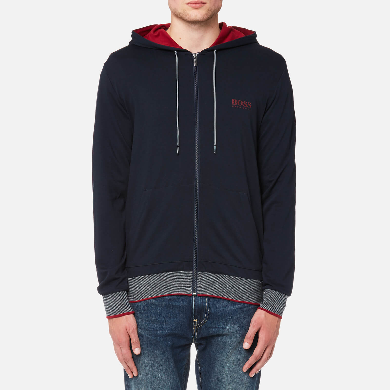 92b0864e8 BOSS Hugo Boss Men's Authentic Hooded Jacket - Dark Blue Clothing |  TheHut.com