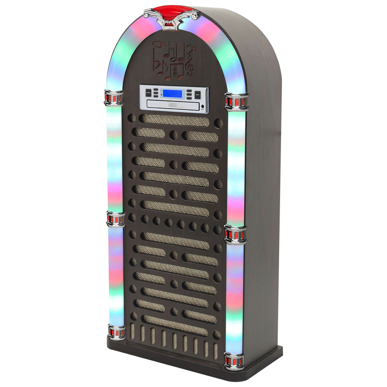 iTek Multi-Functional Bluetooth Jukebox with CD Player, FM Radio Function and LED Display - Brown