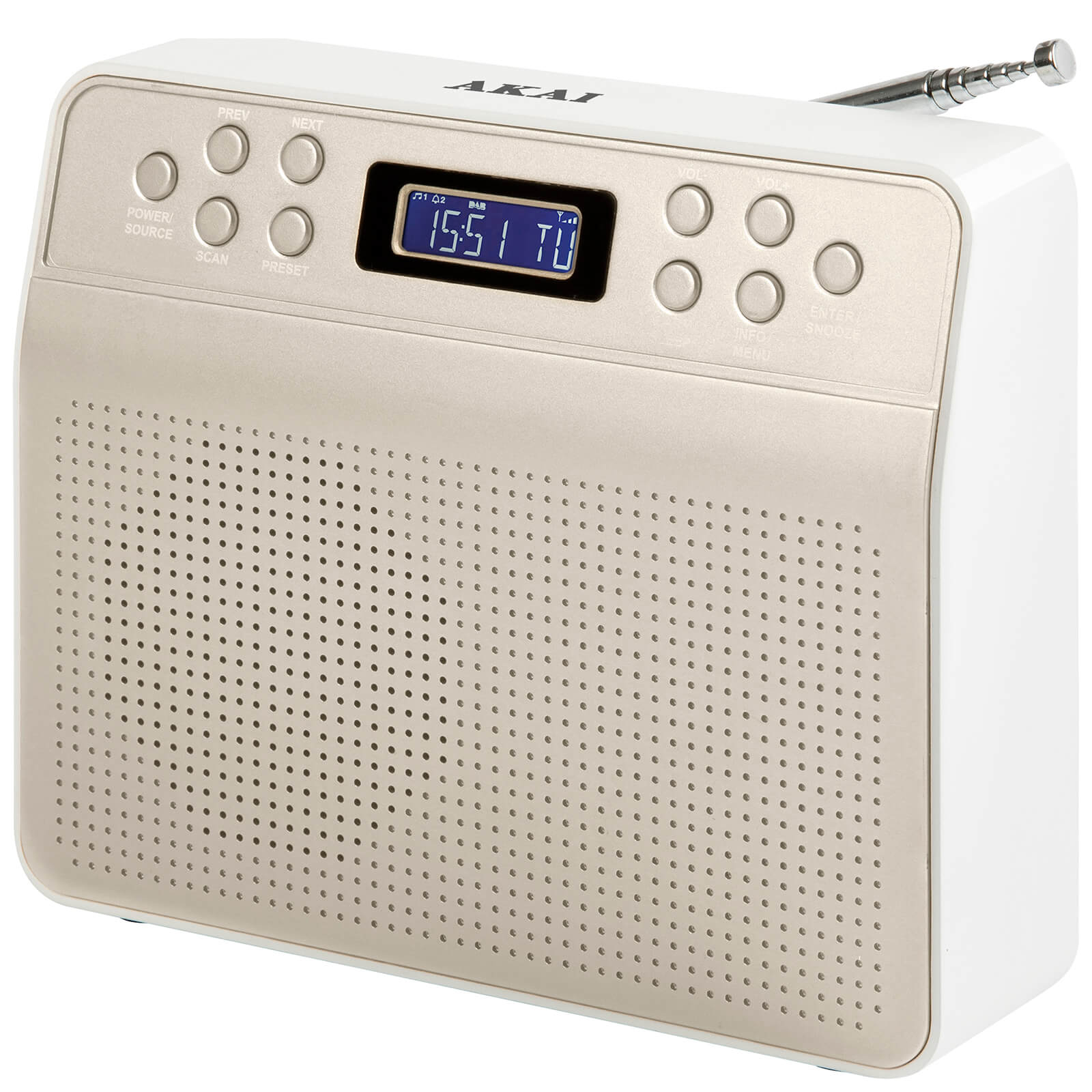 Akai DYNMX Portable DAB Radio with LCD Screen - Champagne