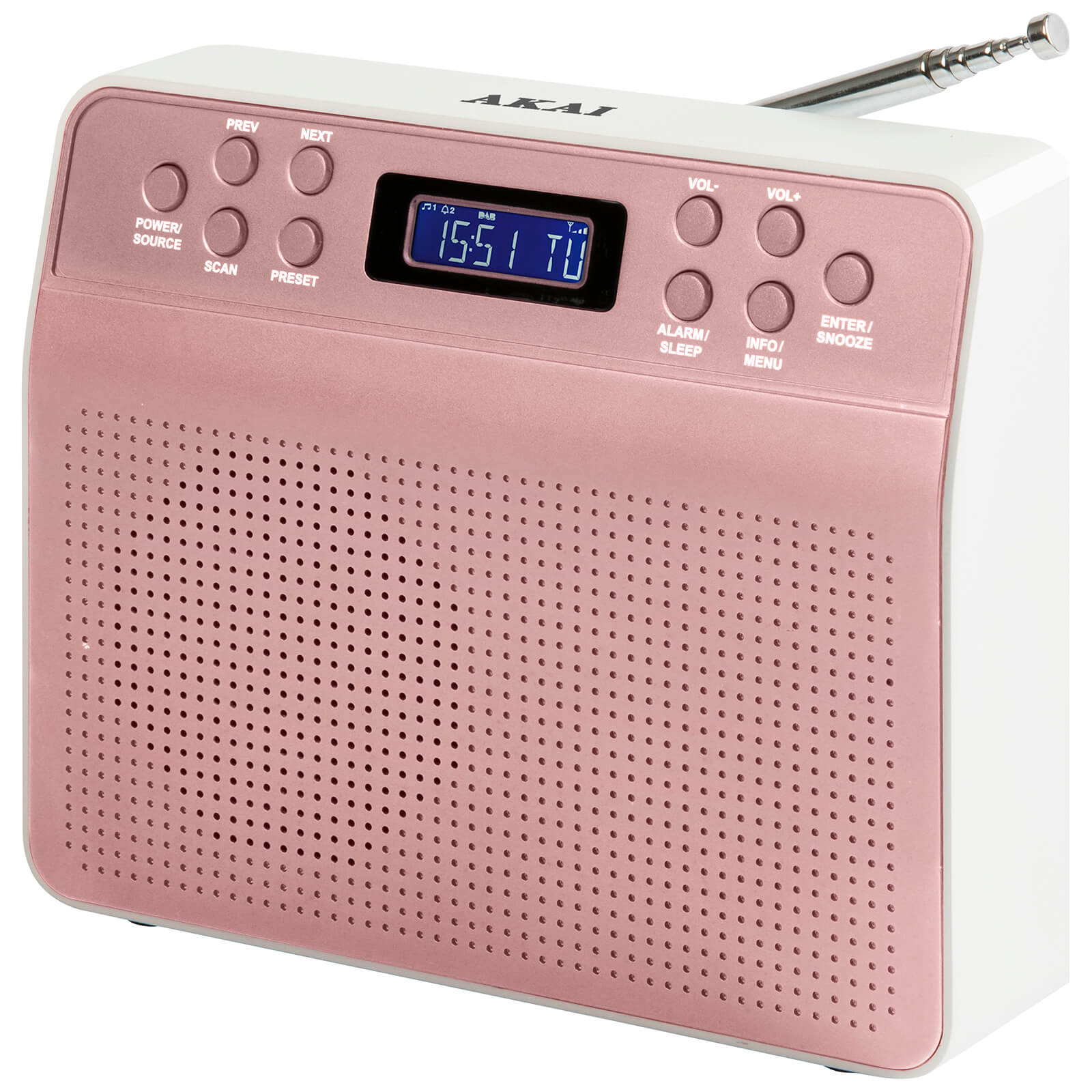 Akai DYNMX Portable DAB Radio with LCD Screen - Rose Gold