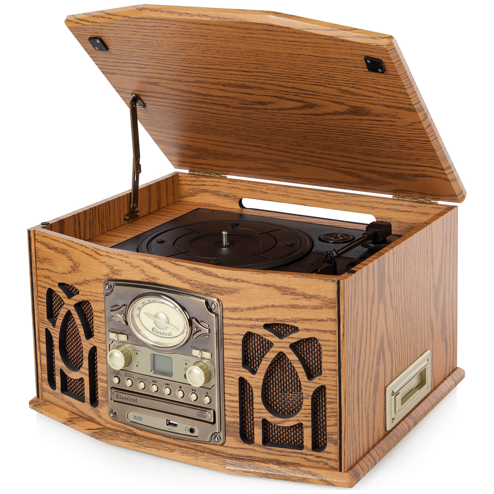 iTek Retro Antique Vintage 5-in-1 Music System (Cassette, CD, Radio, Headphone Jack and Turntable) - Wood