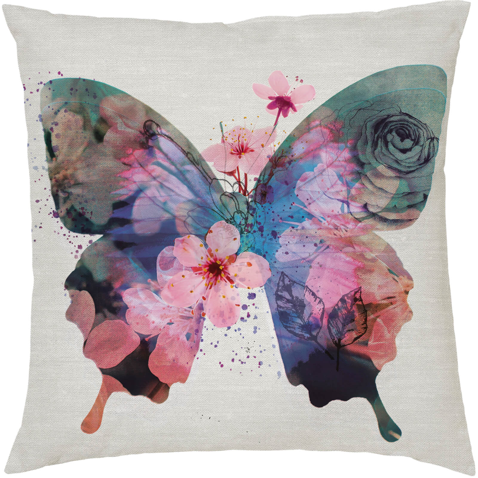 Floral Print Butterfly Cushion - Multi (45 x 45cm)