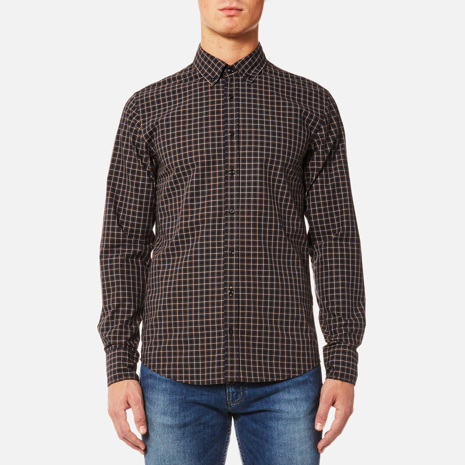c5e6d38b BOSS Orange Men's Epreppy Button Down Check Shirt - Open Red - Free UK  Delivery over £50
