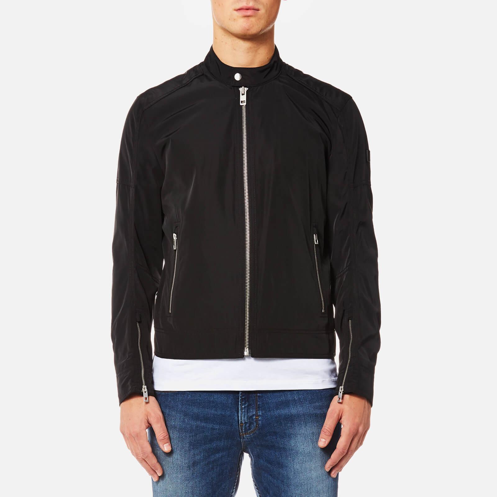 549d0d3d BOSS Orange Men's Olawton Nylon Biker Jacket - Black Clothing | TheHut.com