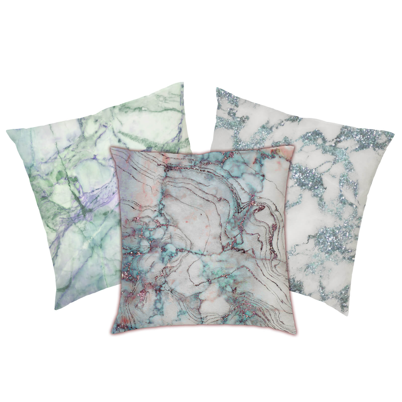 Marble Print Cushion - Green Marbles
