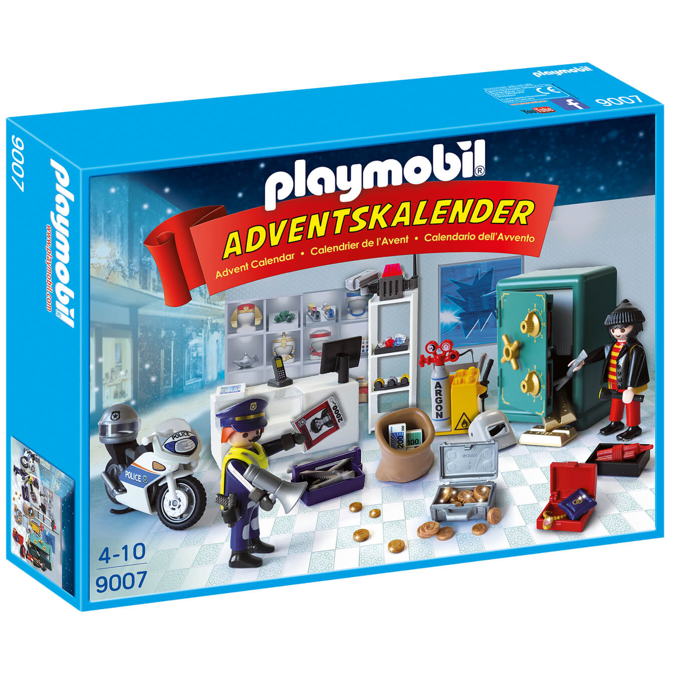 Playmobil Weihnachtskalender.Playmobil Jewel Thief Police Operation Advent Calendar With Working Safe And Money Box Function 9007
