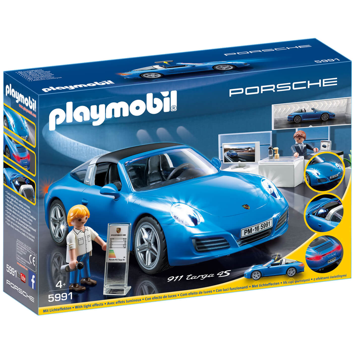 Playmobil Porsche 911 Targa 4s With Lights And Showroom