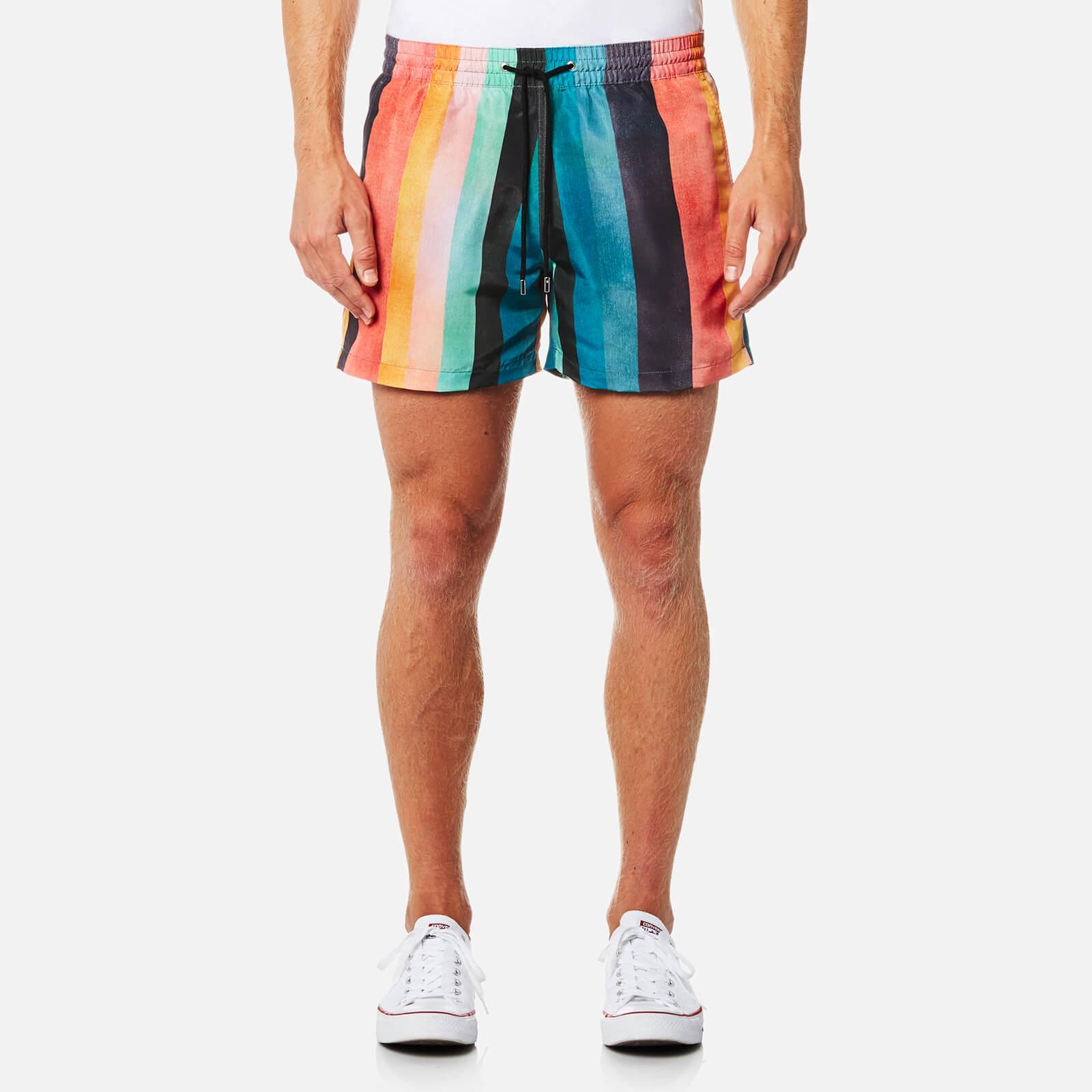 5e33f73e32 Paul Smith Men's Classic Artist Stripe Swim Shorts - Multi - Free UK  Delivery over £50
