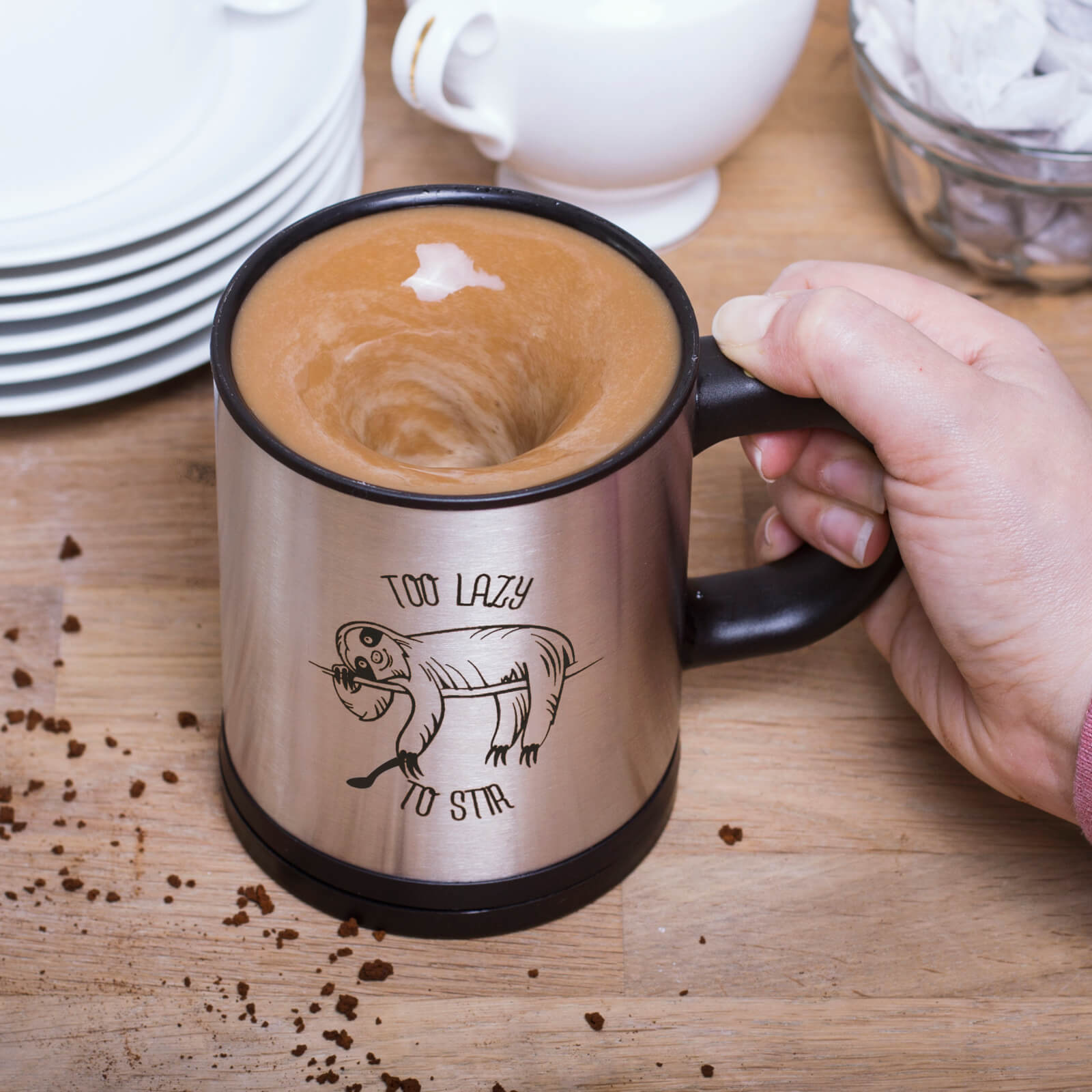 Sloth Self Stirring Mug - Silver