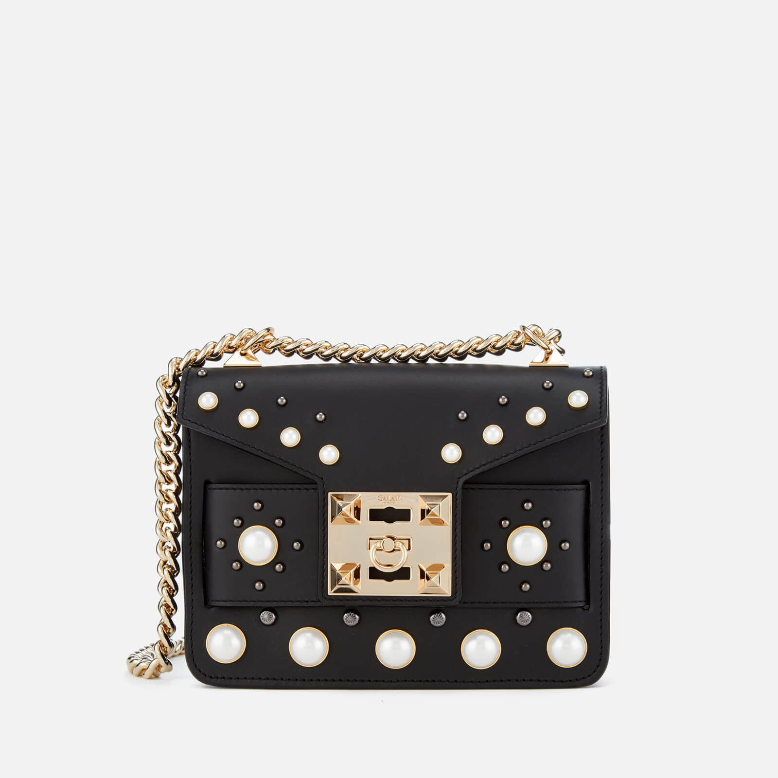 SALAR Women s Mila Pearl Bag - Black - Free UK Delivery over £50