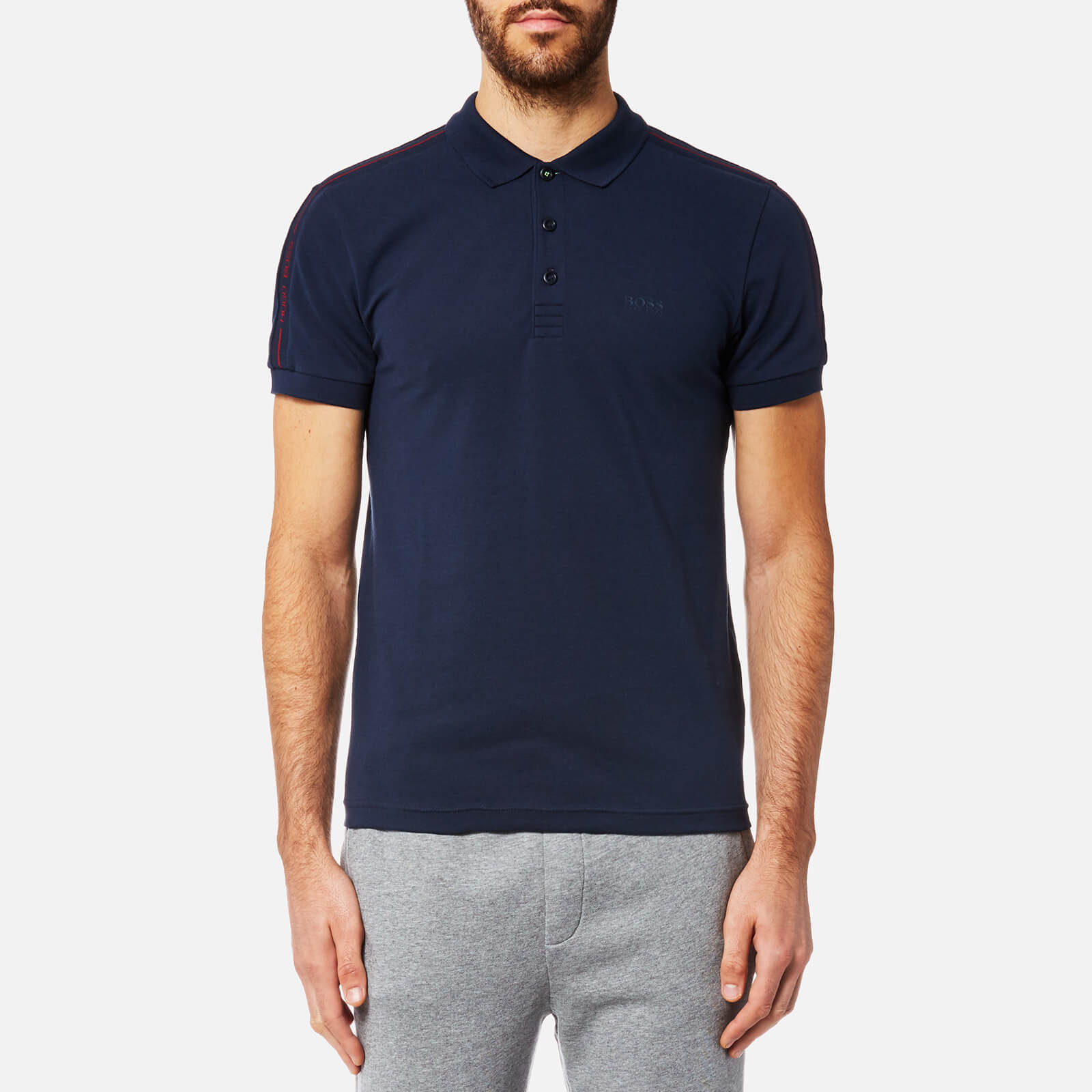 b9d8bbcb BOSS Green Men's Paule Sleeve Logo Polo Shirt - Navy - Free UK Delivery  over £50