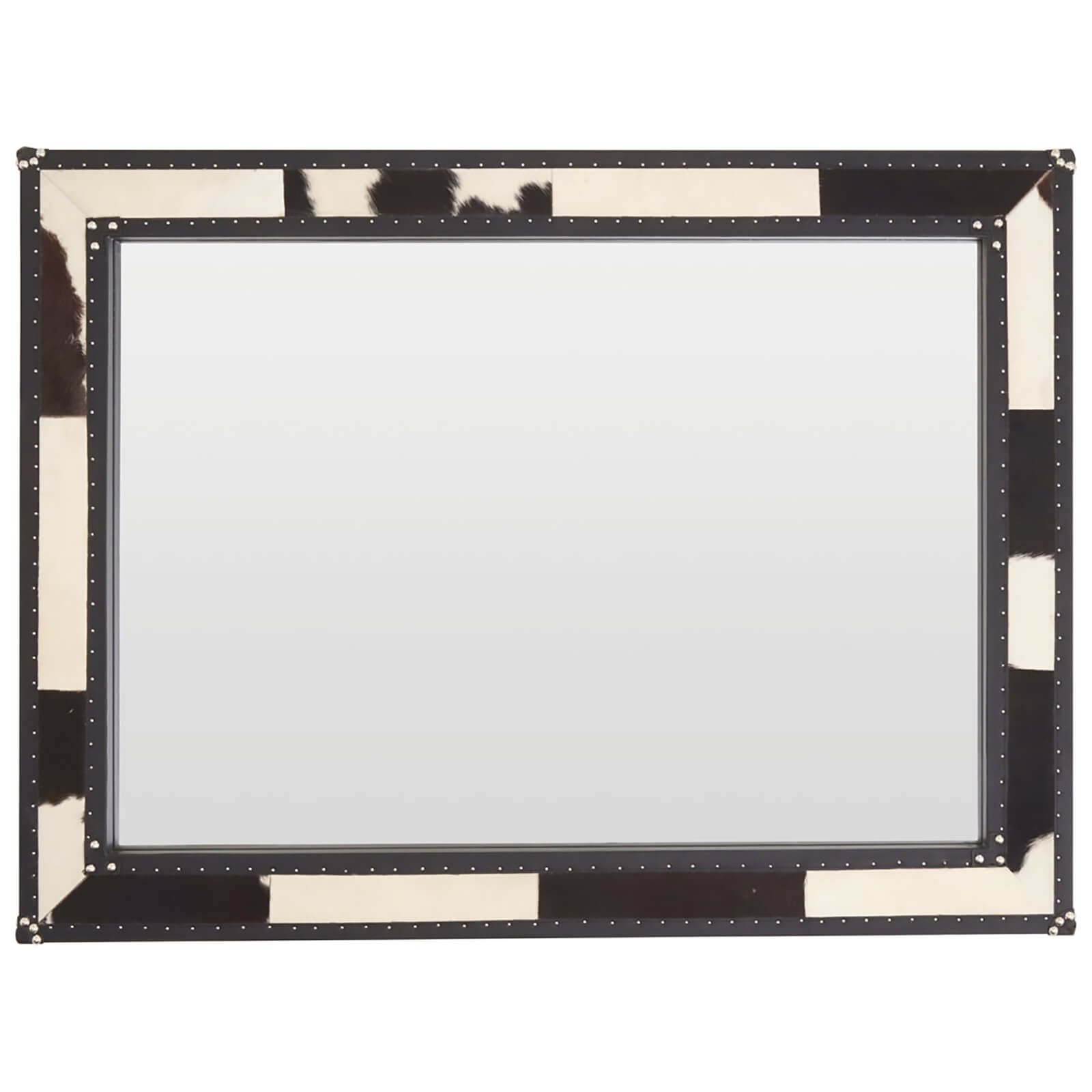 Kensington Townhouse Wall Mirror - Black/White Cowhide