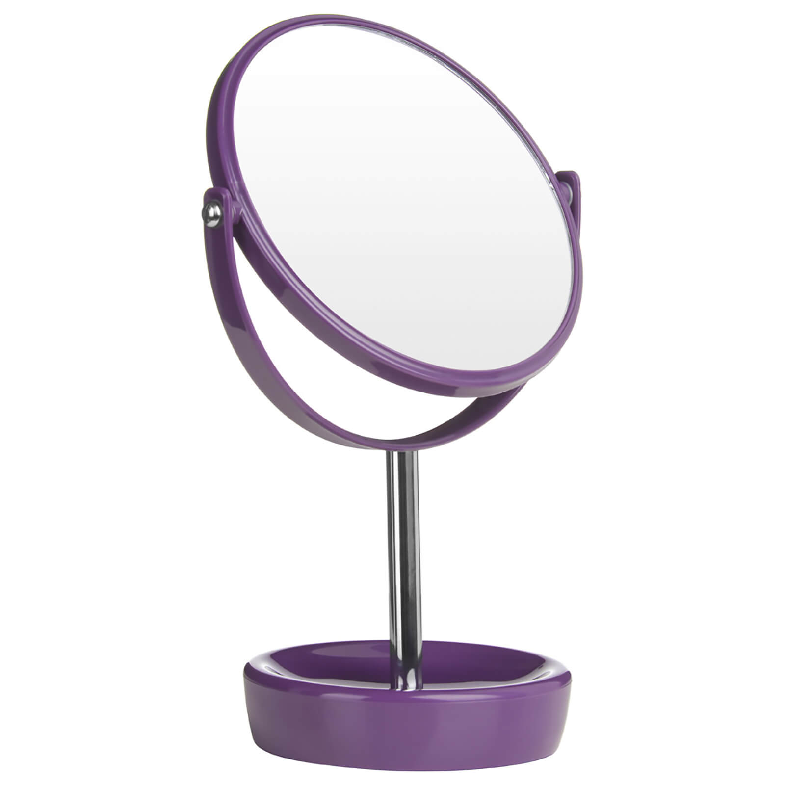 Premier Housewares Swivel Table Mirror with Magnifying Option - Purple Plastic/Chrome