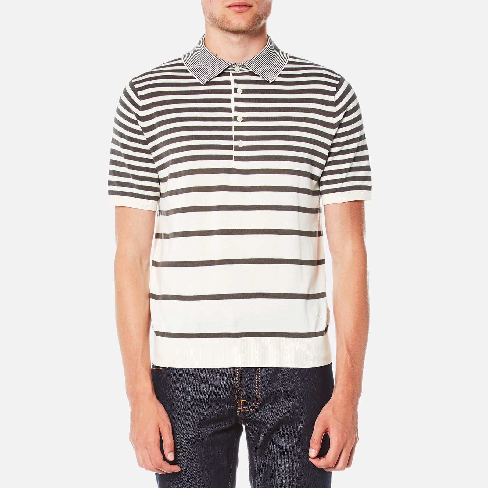 3d7e6bbd PS by Paul Smith Men's Short Sleeve Knitted Striped Polo Shirt - Grey/White  - Free UK Delivery over £50
