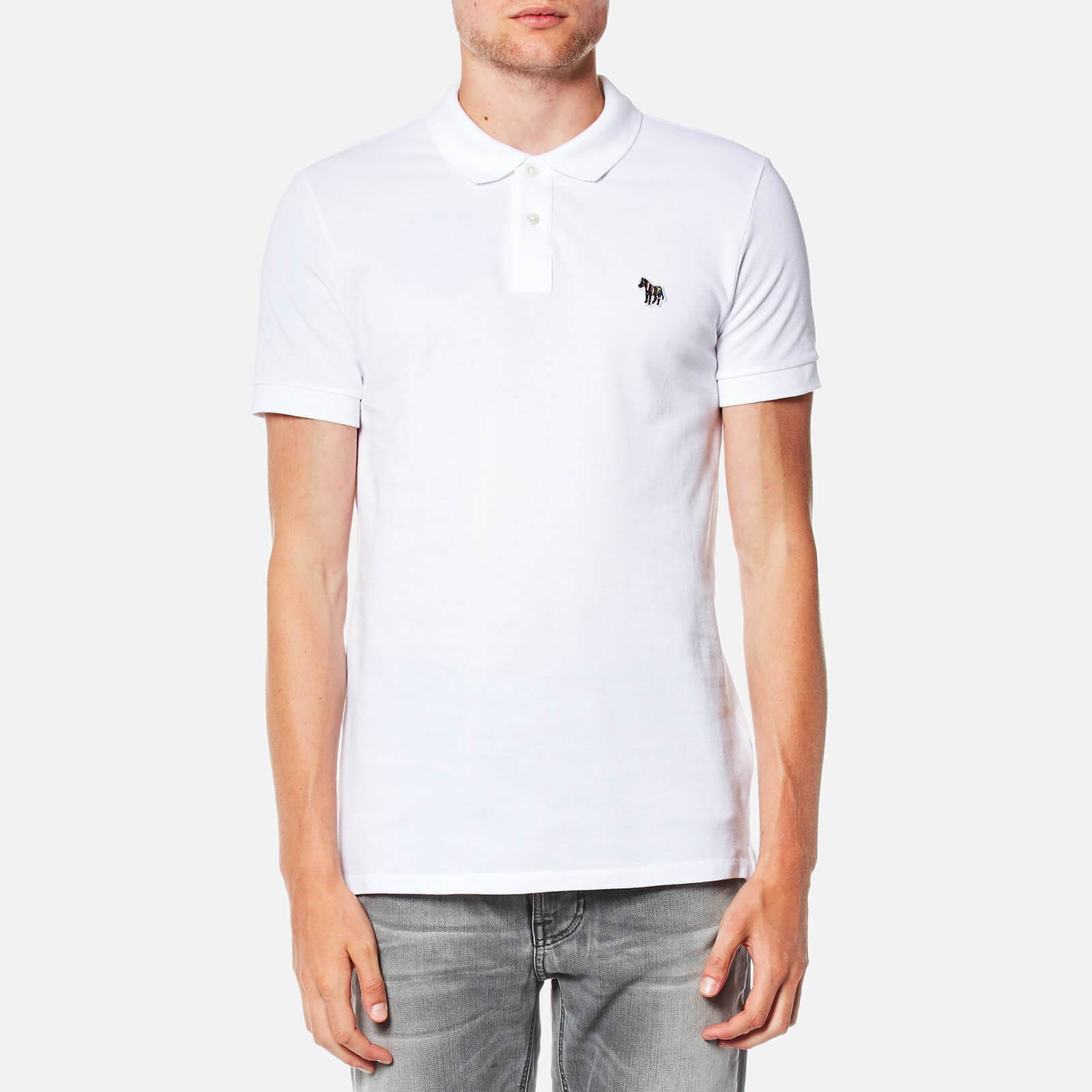69eae96cd266 PS by Paul Smith Men's Slim Fit Zebra Logo Polo Shirt - White - Free UK  Delivery over £50