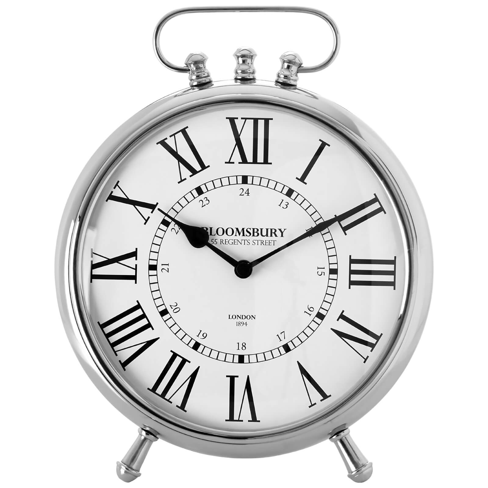 Fifty Five South Hampstead Table Clock - Nickel Finish