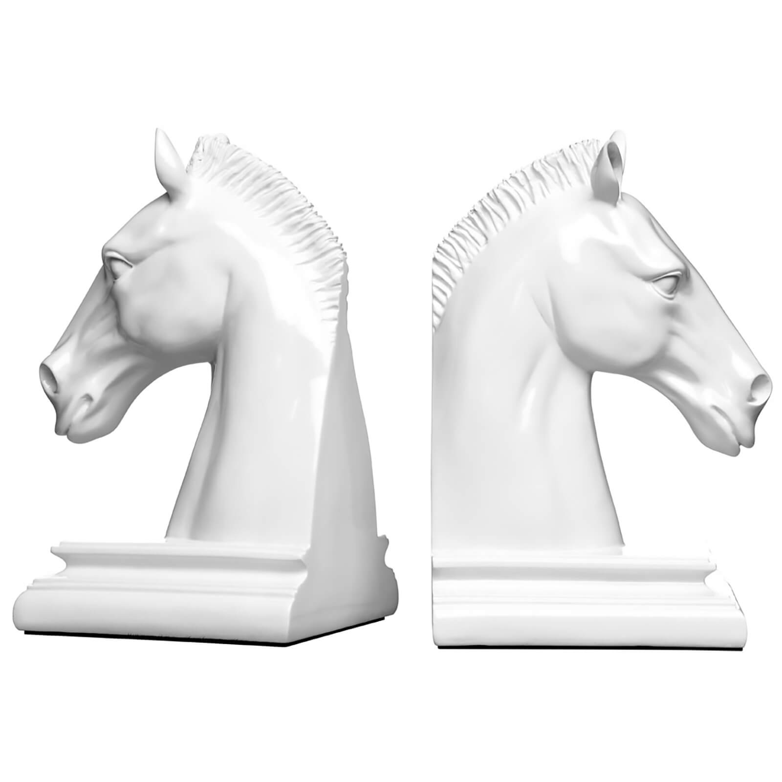 Fifty Five South Horse Head Bookends - White High Gloss (Set of 2)